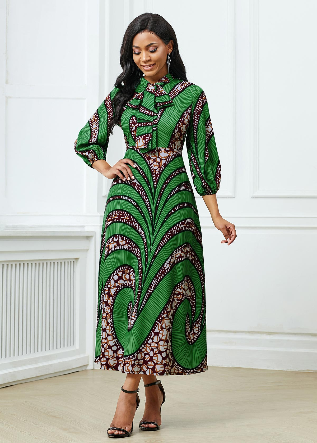 Tribal Print Three Quarter Sleeve Dress