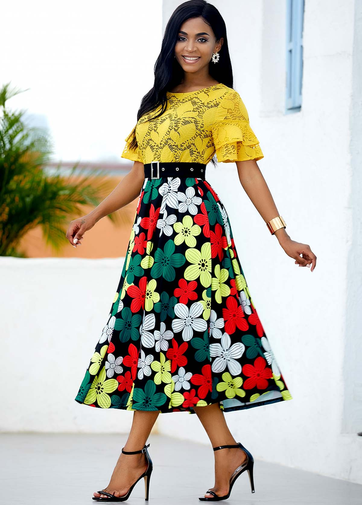 Lace Panel Floral Print Buckle Belted Dress