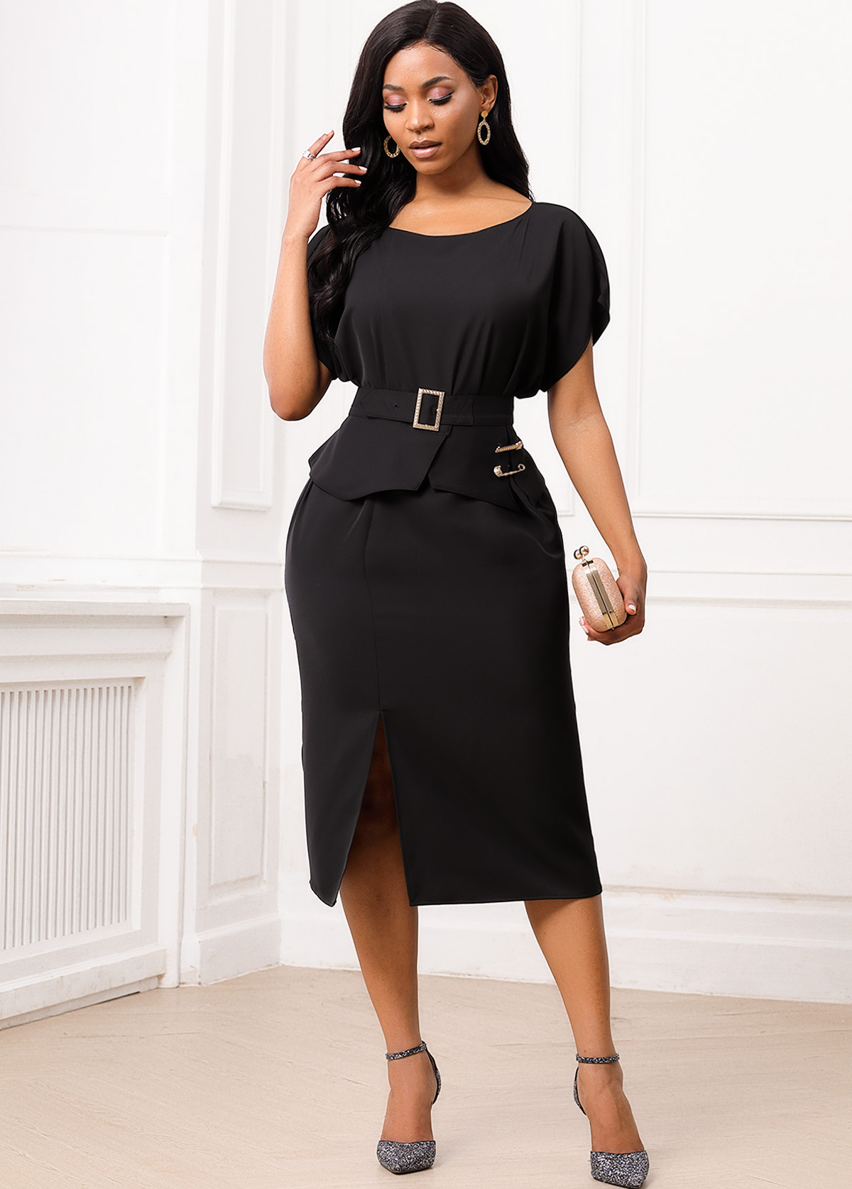 Buckle Belted Slit Hem Round Neck Dress