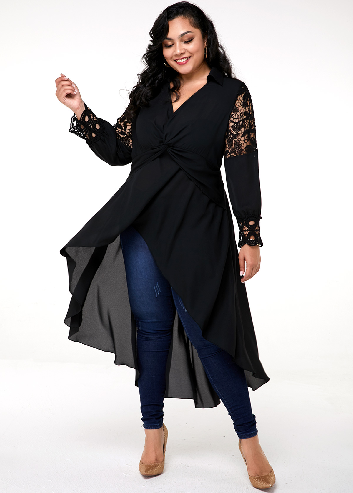 Plus Size Lace Panel Cocktail Hem Blouse