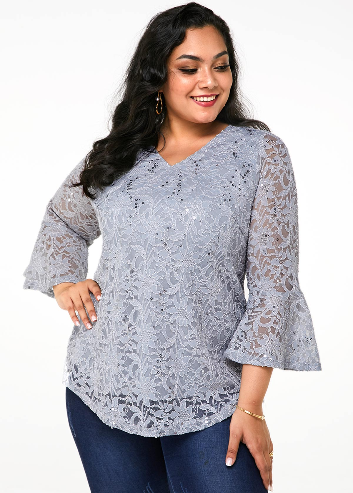 Plus Size Flare Sleeve Lace T Shirt