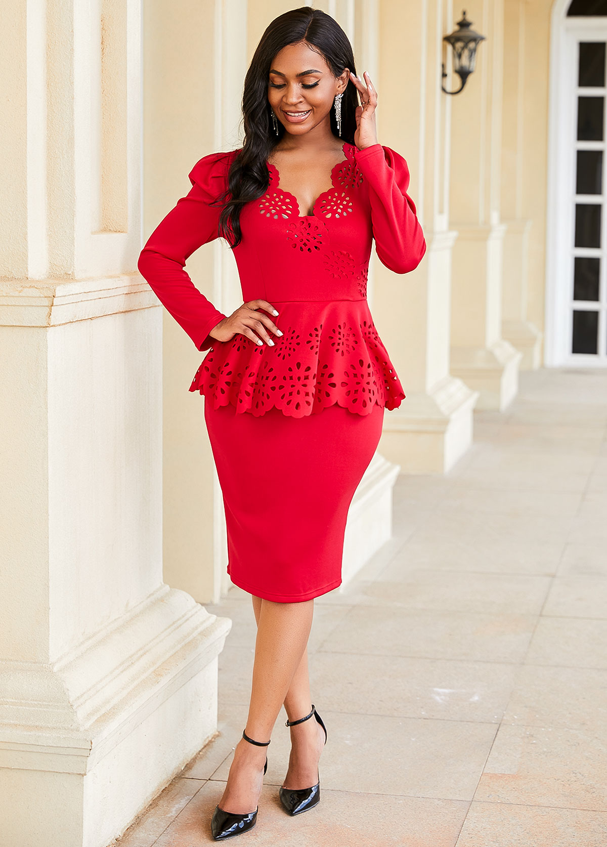 Peplum Waist Pierced Long Sleeve Dress