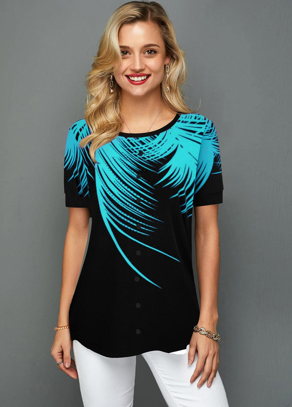 Palm Leaf Print Round Neck Short Sleeve T Shirt