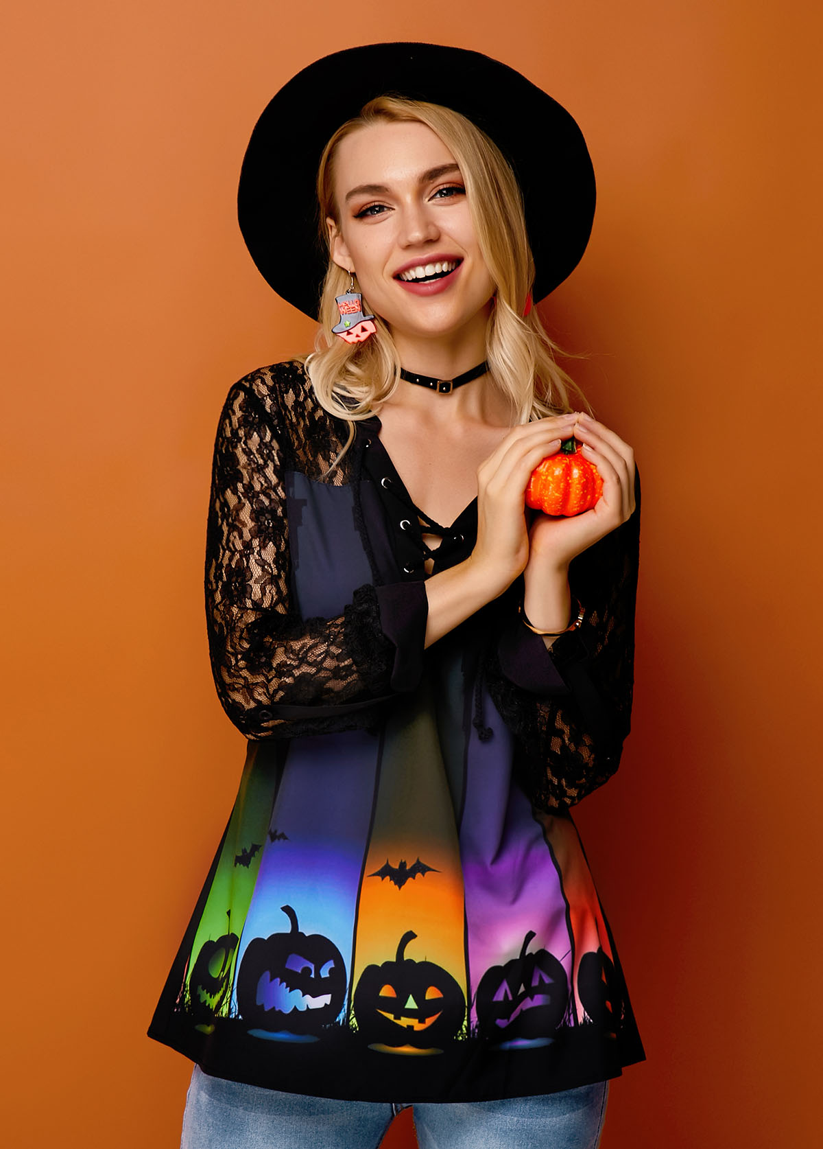 Rainbow Color Halloween Print Lace Panel Blouse