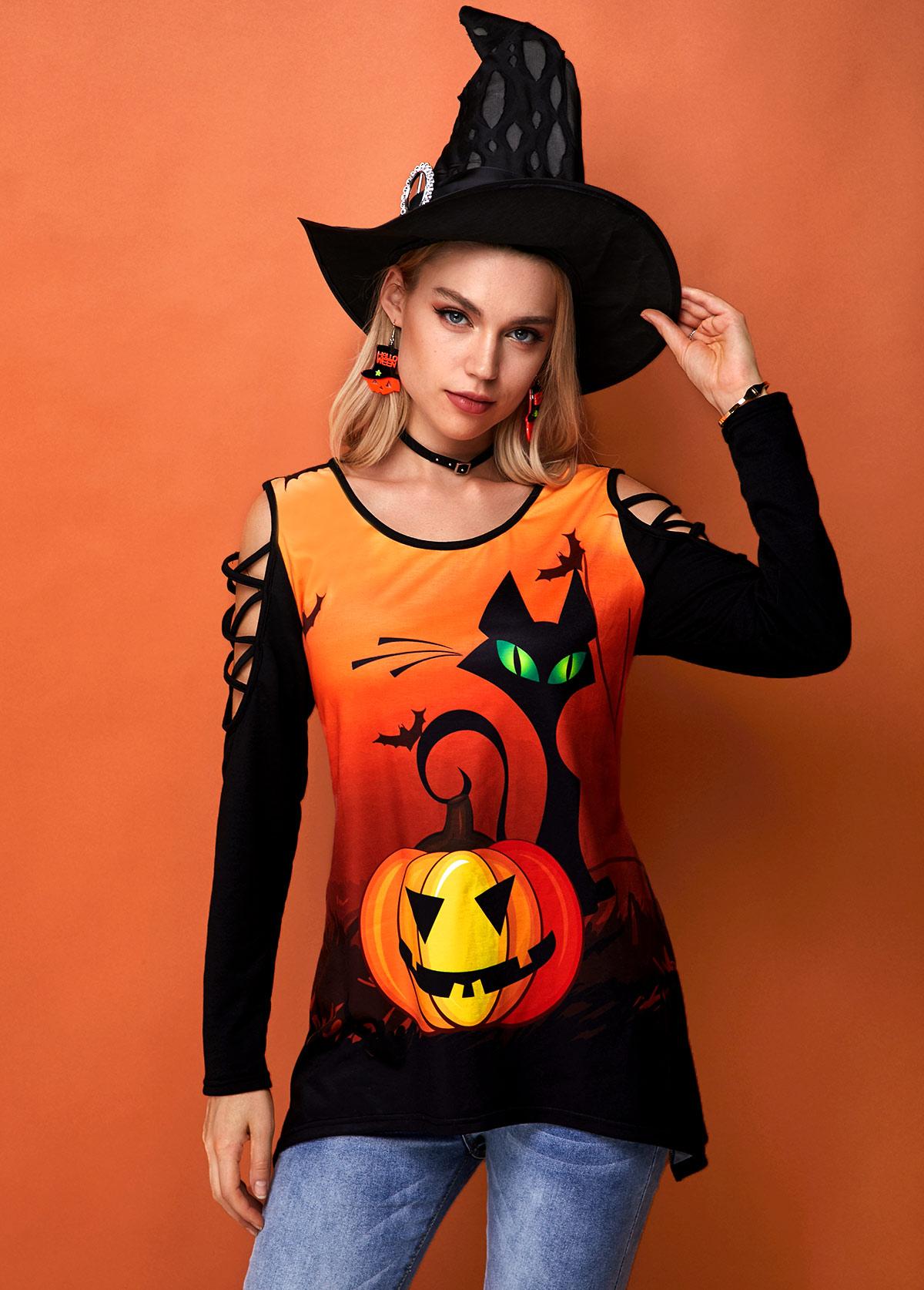 Halloween Print Strappy Shoulder Round Neck Sweatshirt