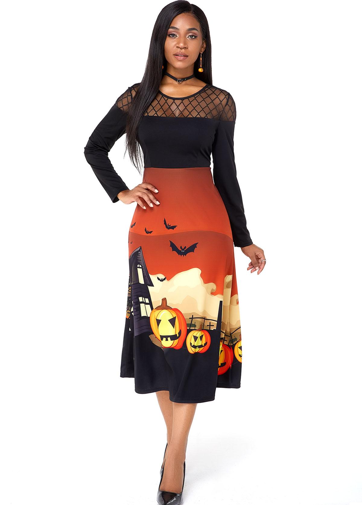 Halloween Crazy Pumpkin Mesh Panel Long Sleeve Dress