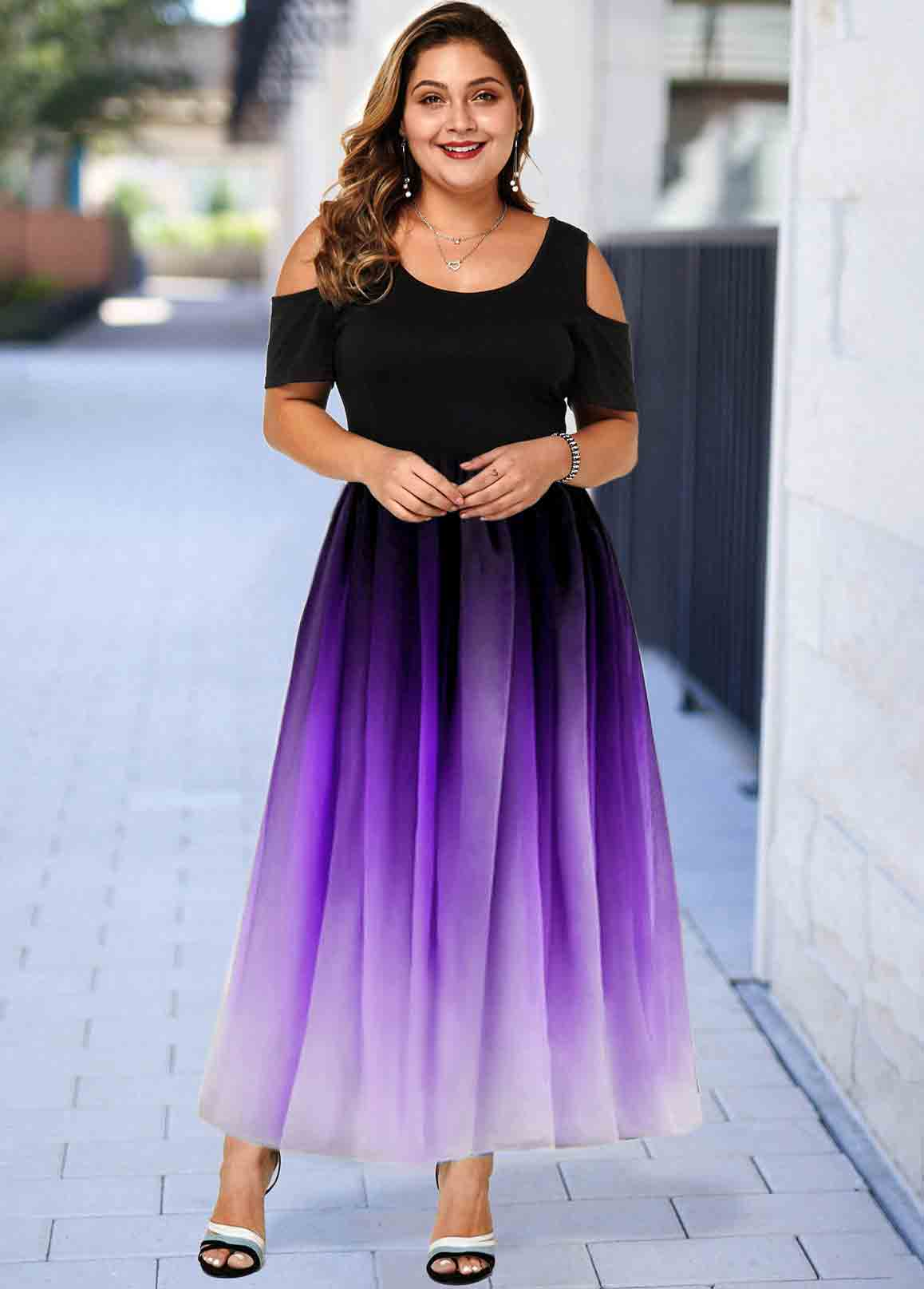 Plus Size Cold Shoulder Ombre Maxi Dress