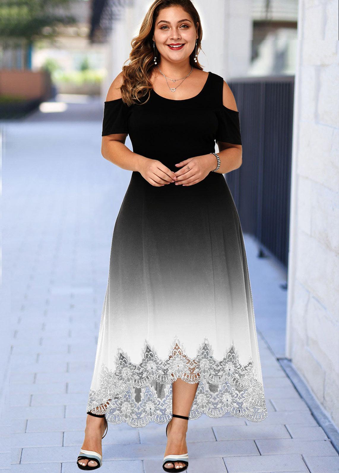 Plus Size Ombre Lace Hem Cold Shoulder Dress