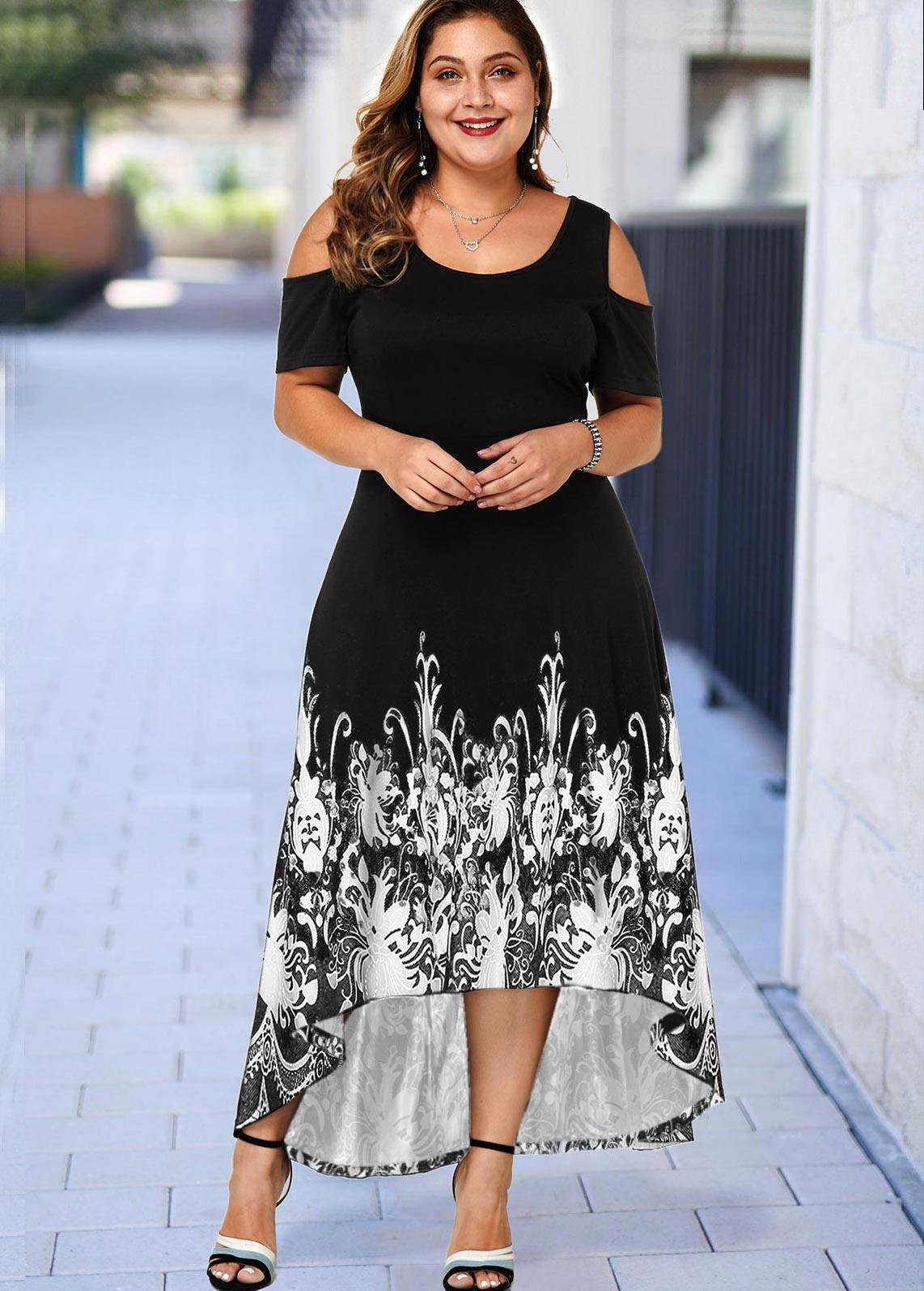 Plus Size Floral Print Cold Shoulder High Low Dress