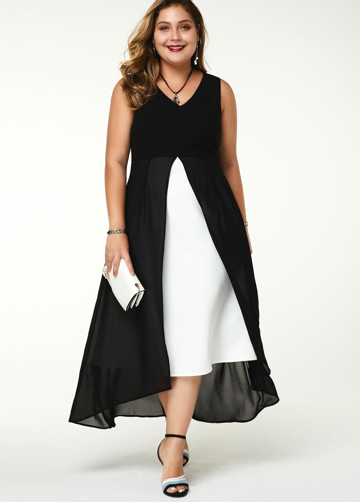 Plus Size Contrast Sleeveless V Neck Dress