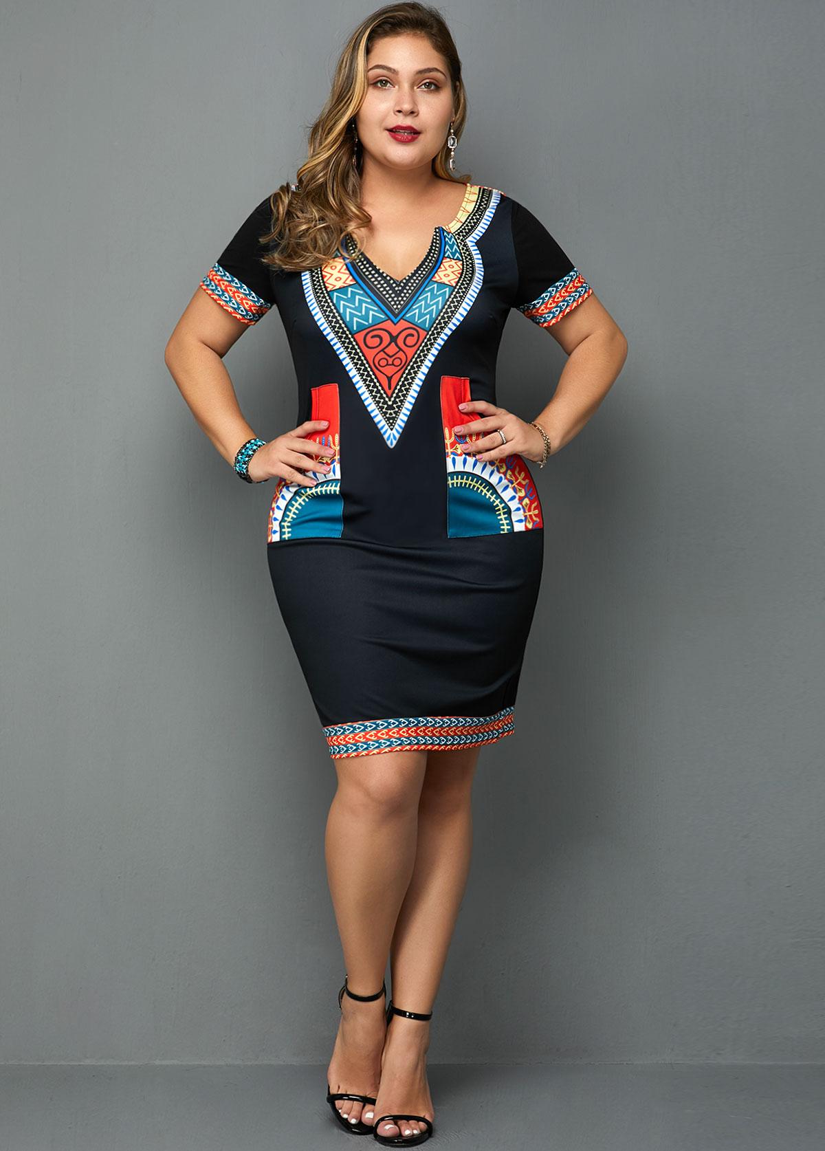Plus Size Tribal Print Short Sleeve Dress