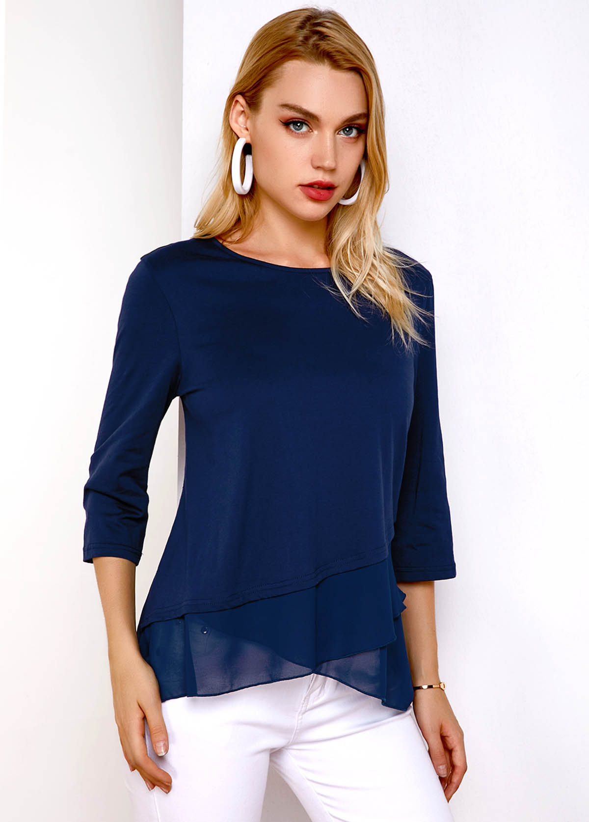 Round Neck Crossover Hem Three Quarter Sleeve T Shirt