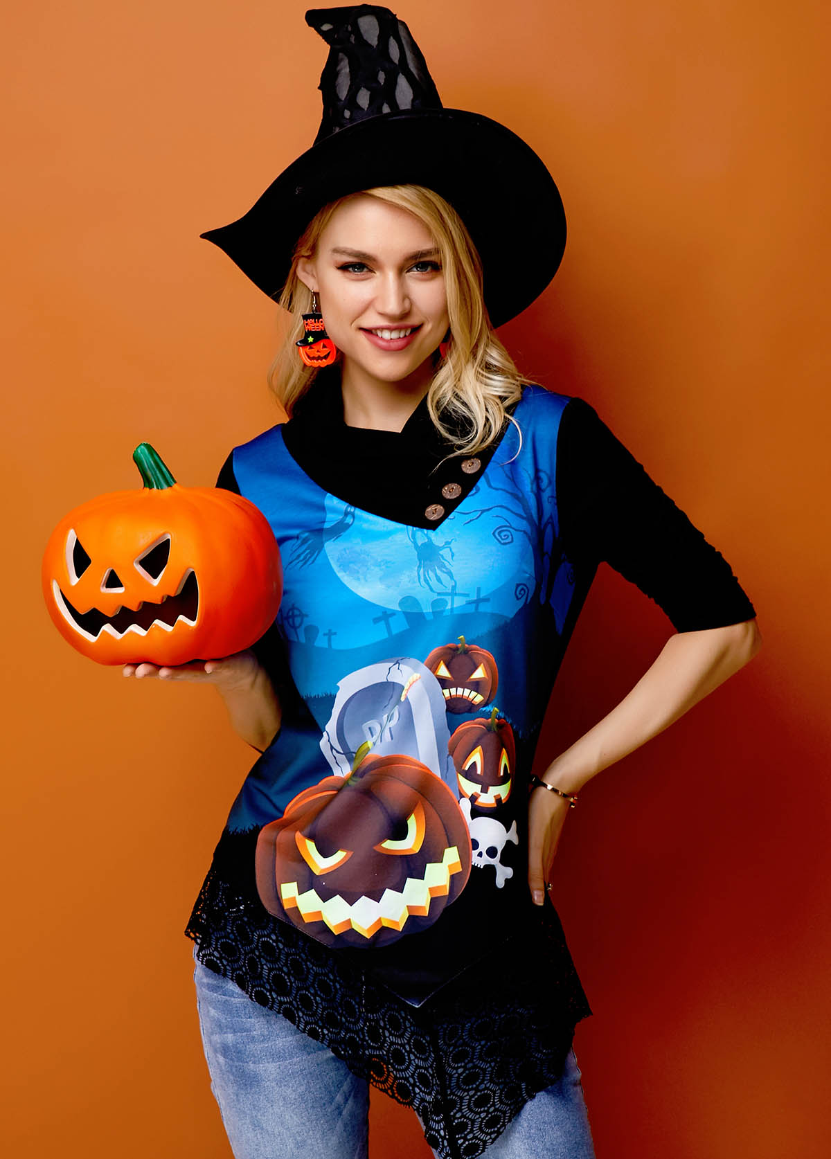 Asymmetric Hem Halloween Crazy Pumpkin Lace Panel Sweatshirt