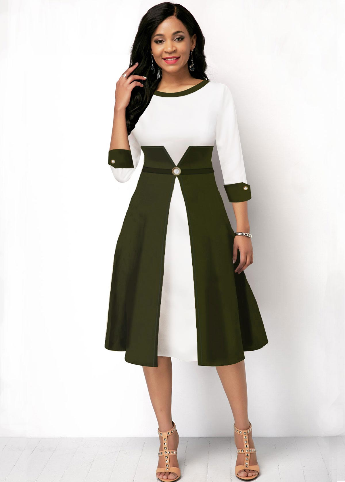 Color Block Round Neck Three Quarter Sleeve Dress