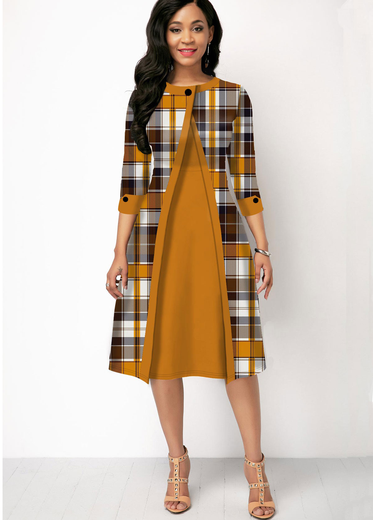 Plaid Print Three Quarter Sleeve Contrast Dress