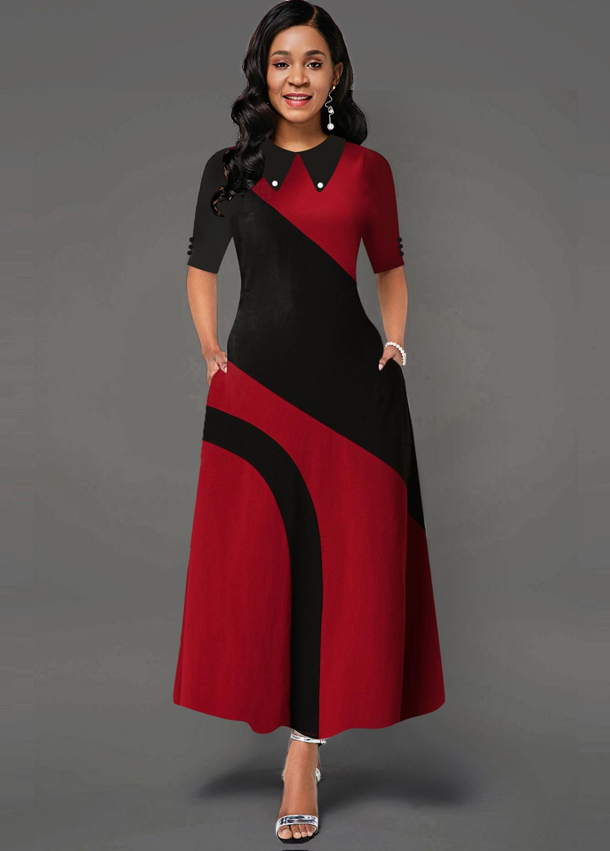 Contrast Turndown Collar Side Pocket Maxi Dress