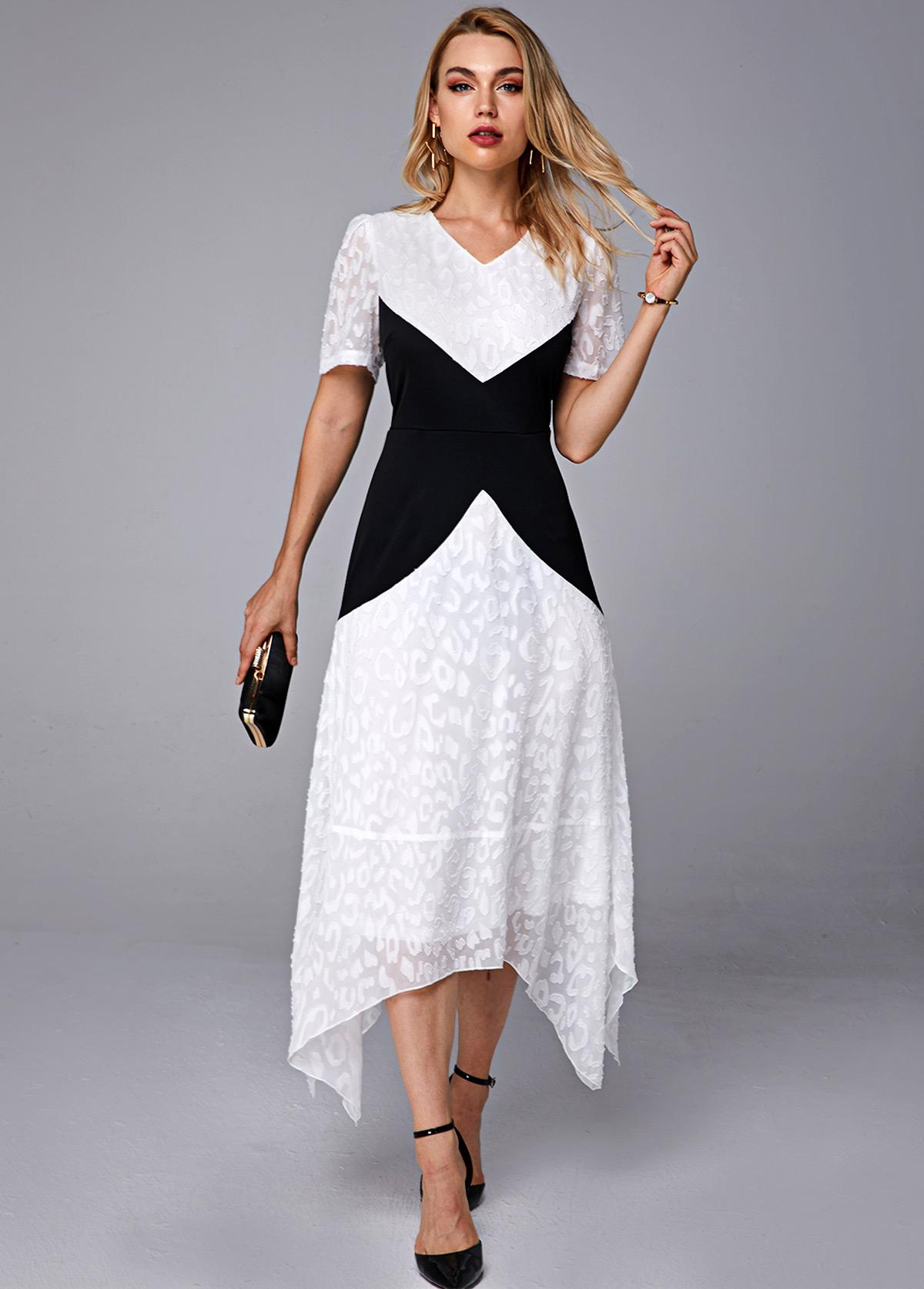 Asymmetric Hem Contrast V Neck Short Sleeve Dress