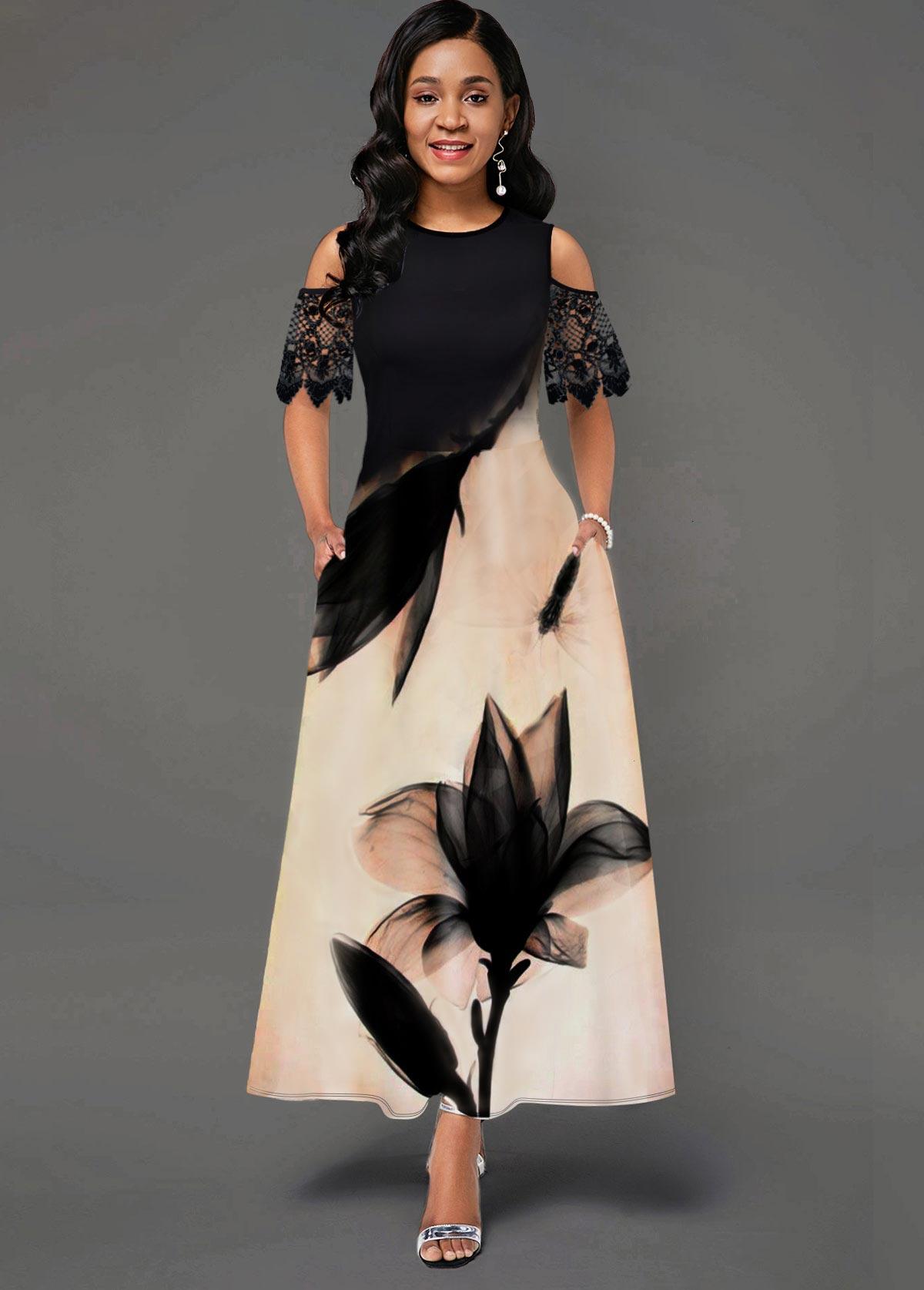 Floral Print Cold Shoulder Lace Panel Pocket Dress