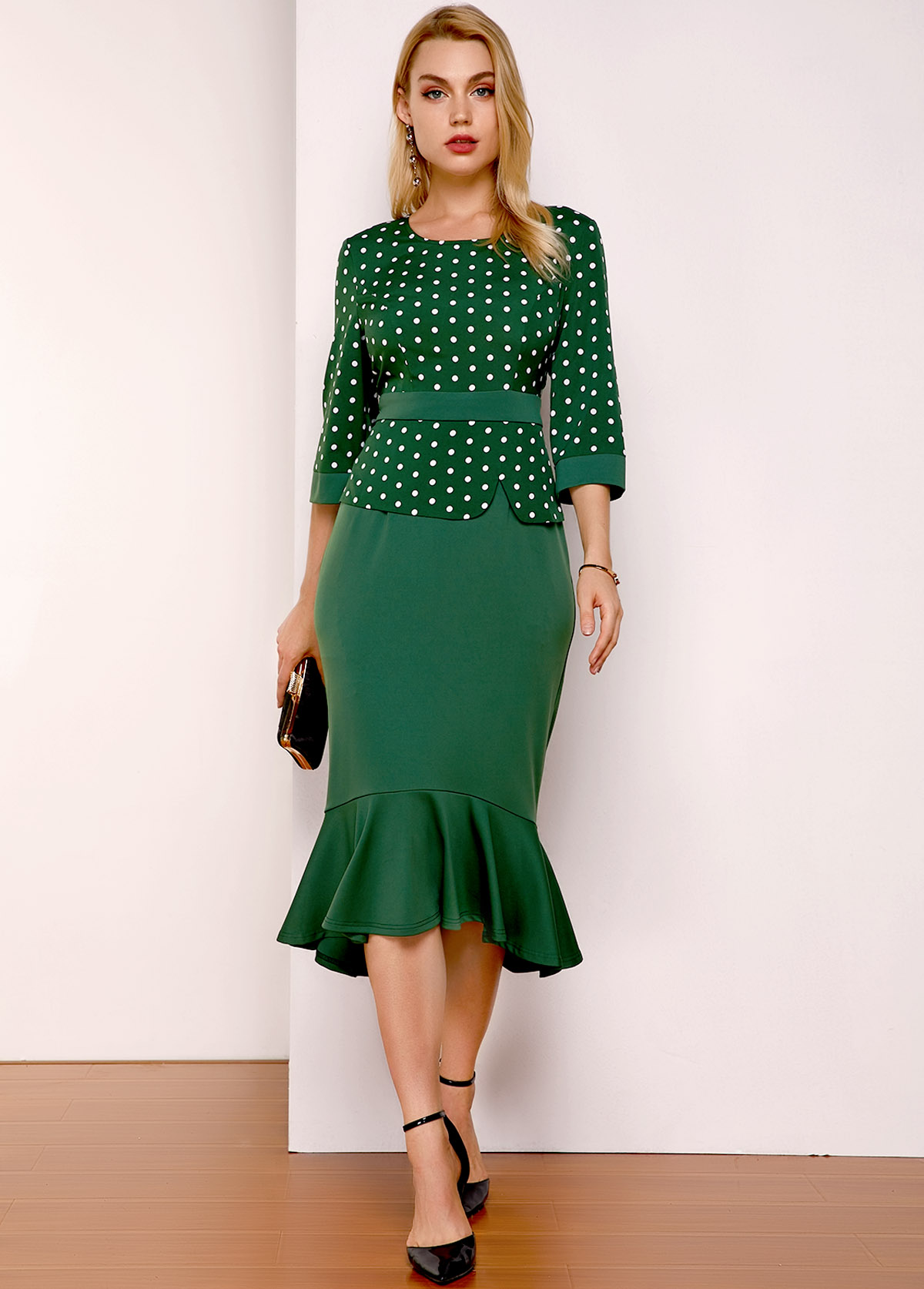 Polka Dot Round Neck Three Quarter Sleeve Dress