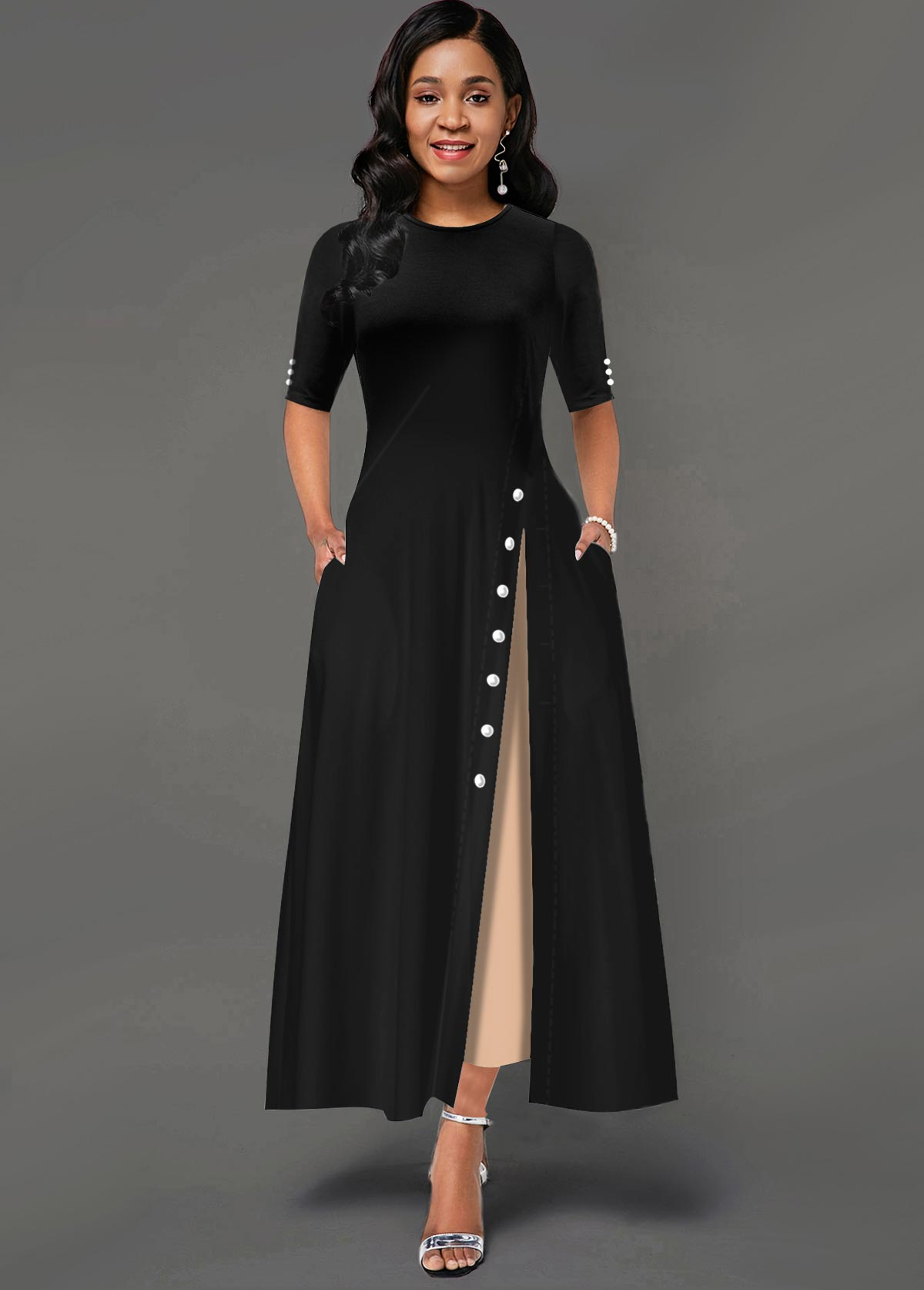 Contrast Inclined Button Side Pocket Maxi Dress