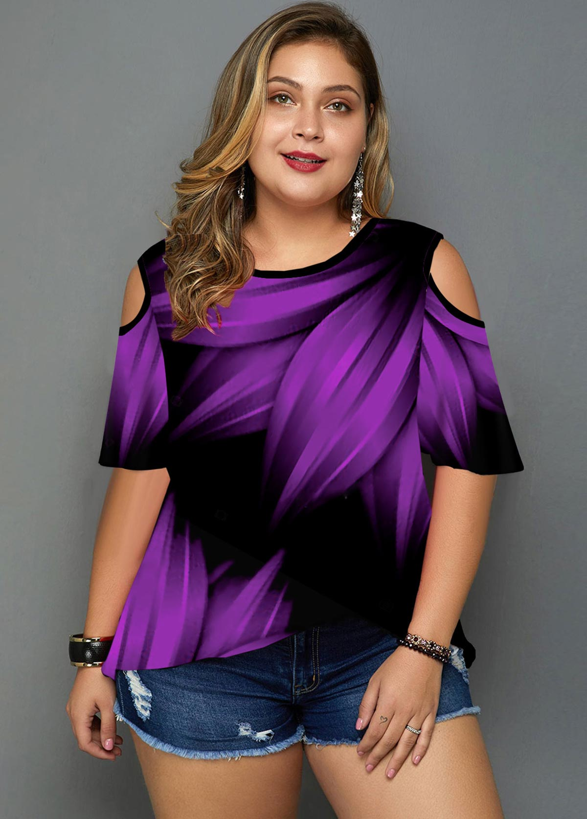 Plus Size Printed Cold Shoulder T Shirt