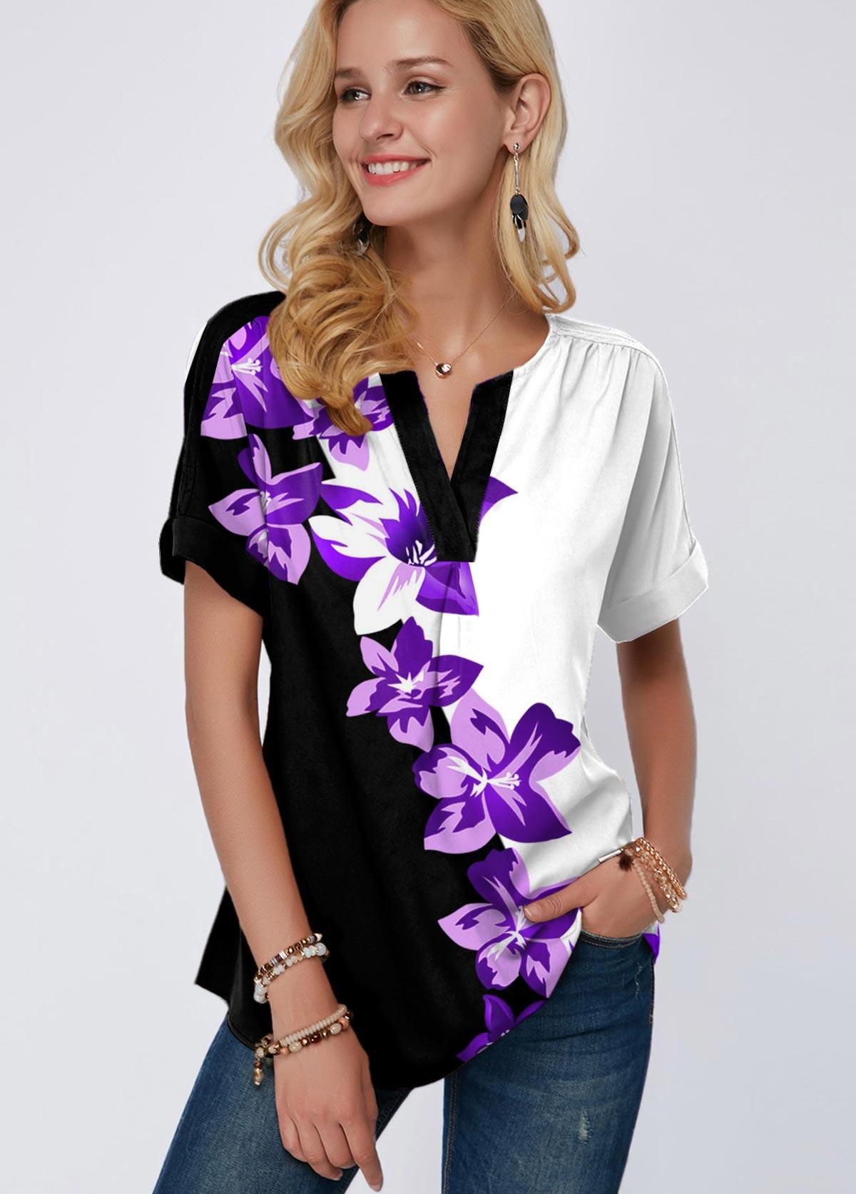 Floral Print Split Neck Short Sleeve Blouse