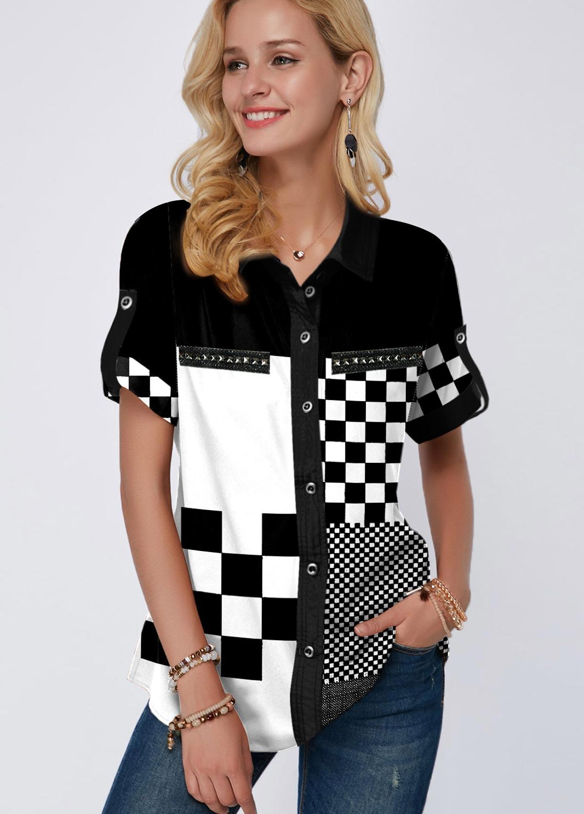 Plaid Print Button Up Turndown Collar Blouse