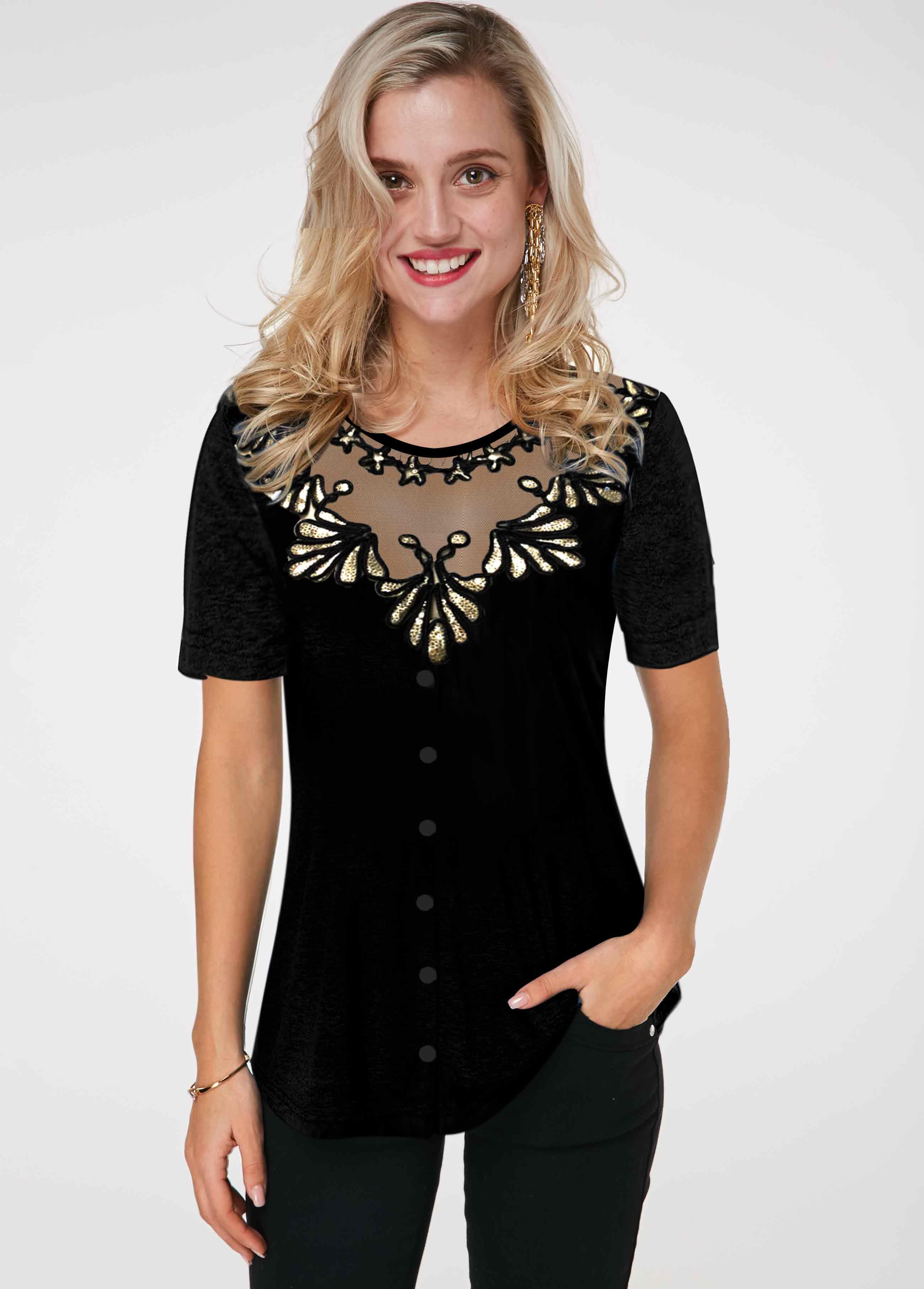 Sequin Detail Round Neck Short Sleeve T Shirt