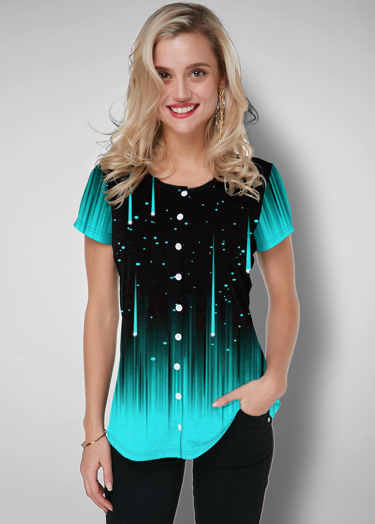 Starry Night Print Button Up Ombre T Shirt