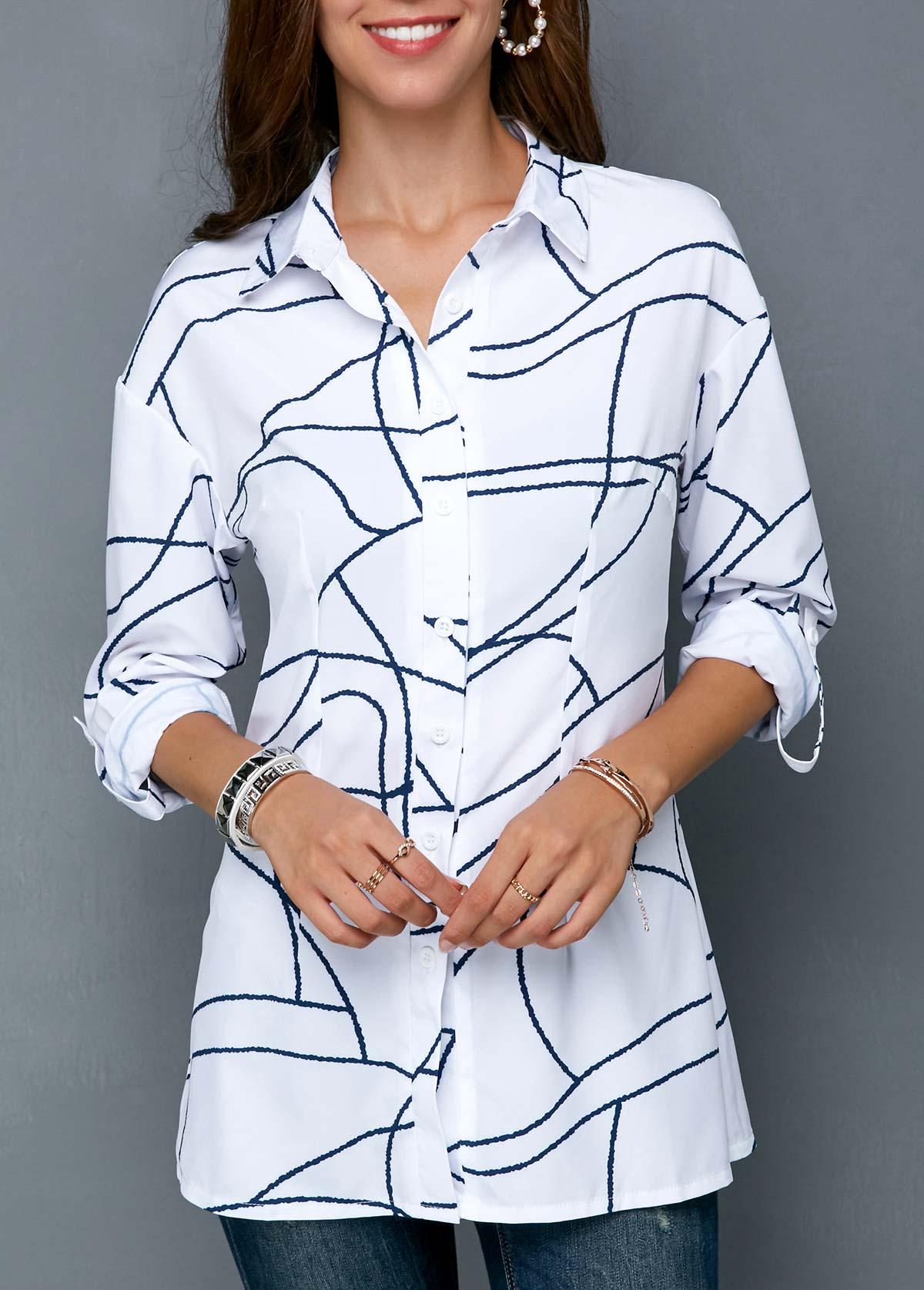 Geometric Print Button Up Turndown Collar Shirt