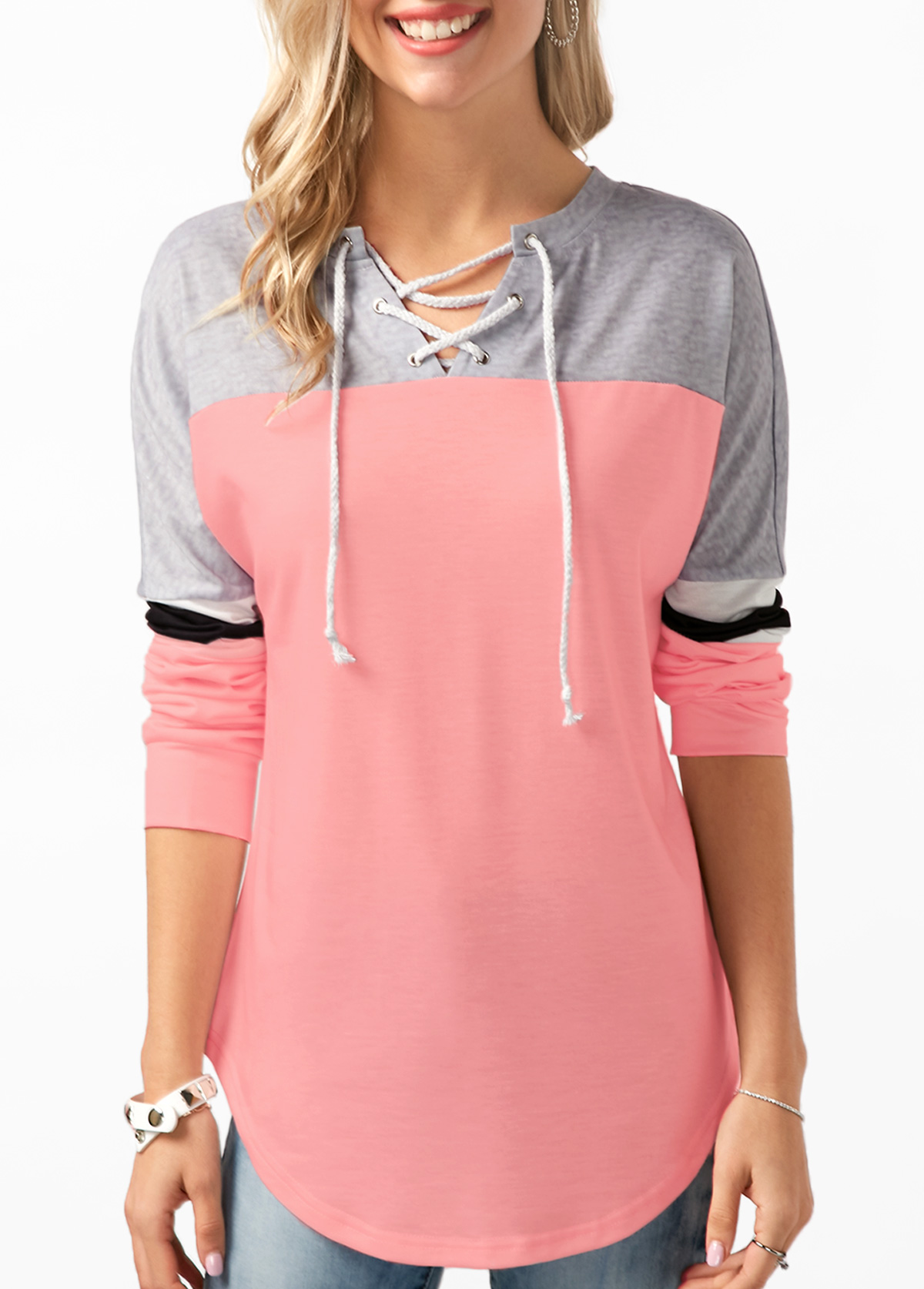 Contrast Lace Up Long Sleeve Sweatshirt