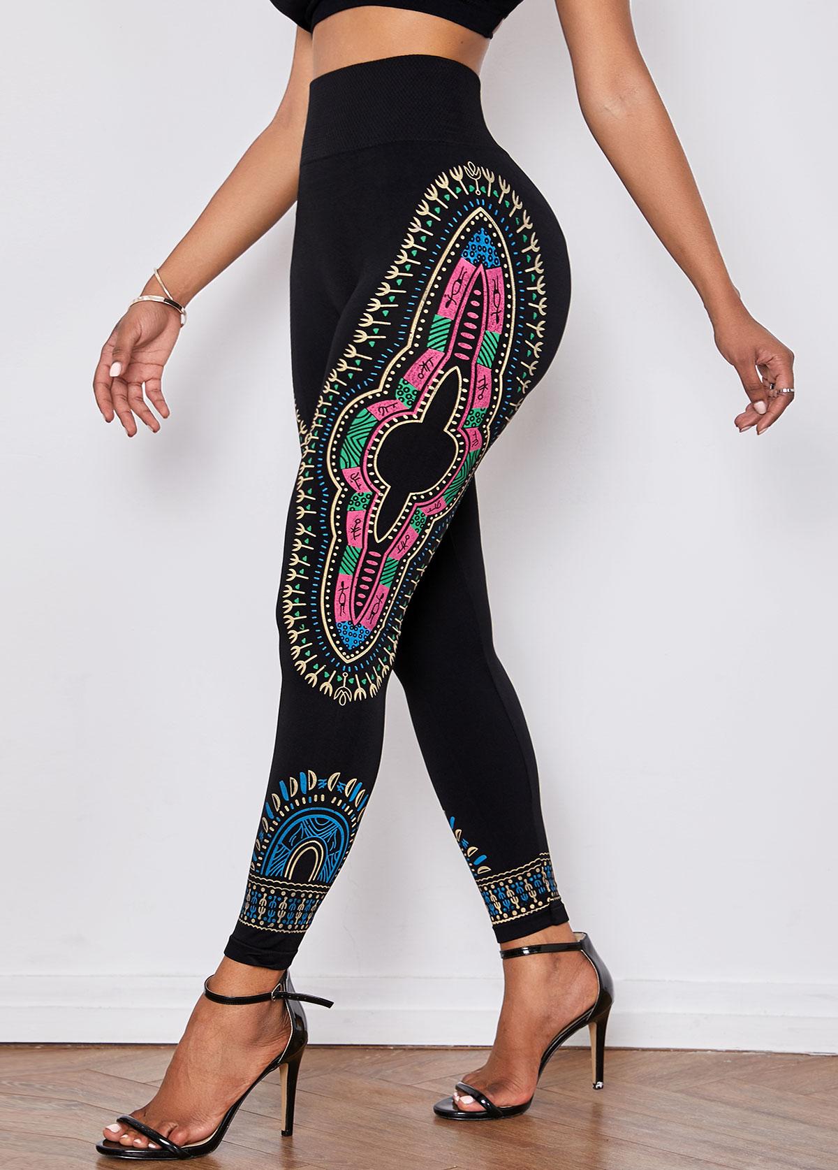 Dashiki Print Elastic Waist Black Skinny Pants