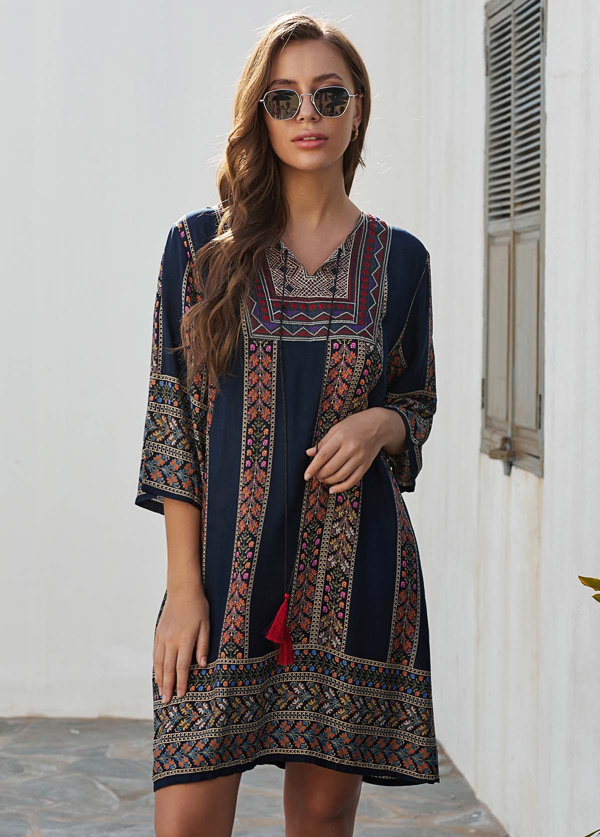 Three Quarter Sleeve Tribal Print Tassel Tie Dress