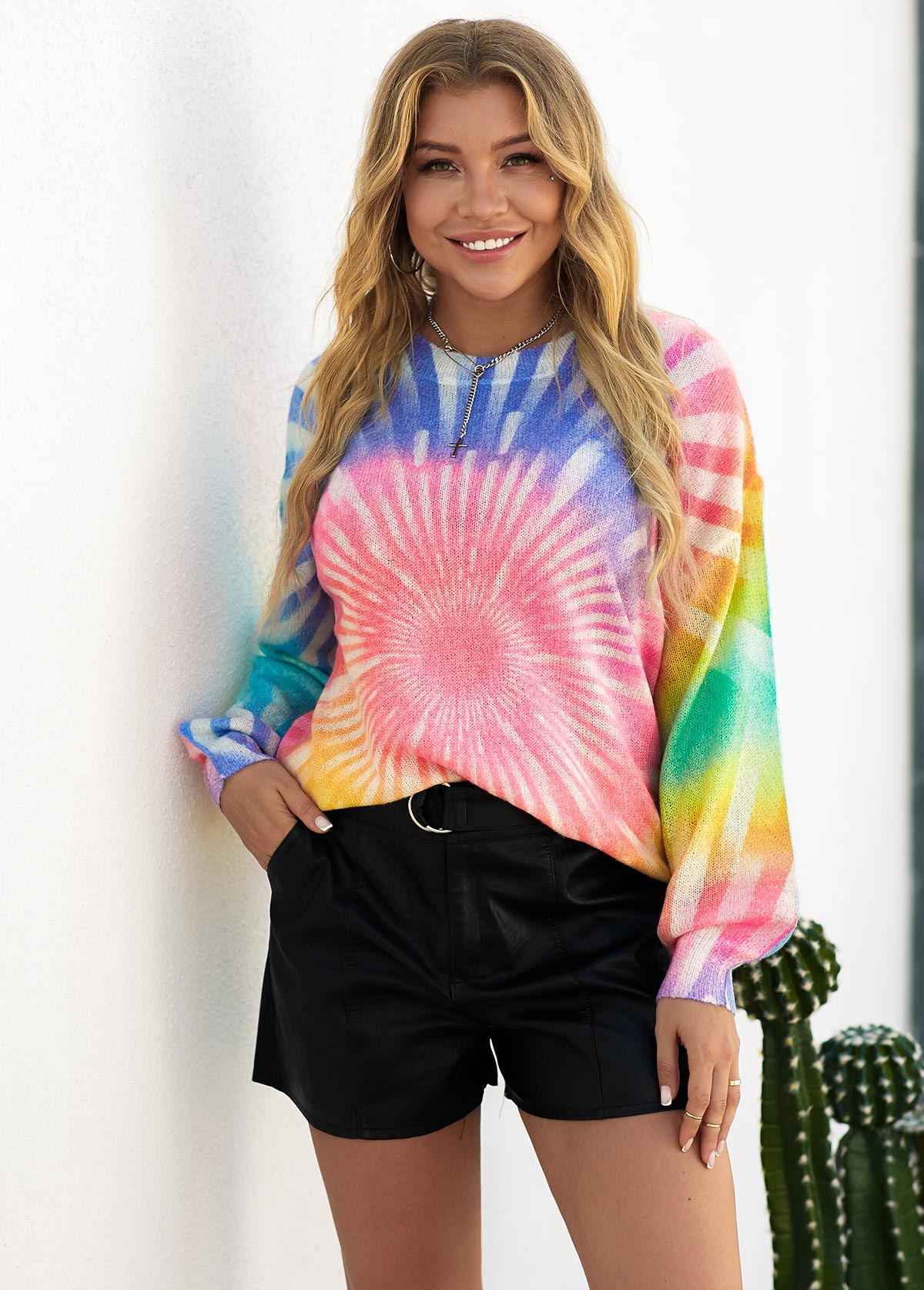 Tie Dye Round Neck Long Sleeve Sweater