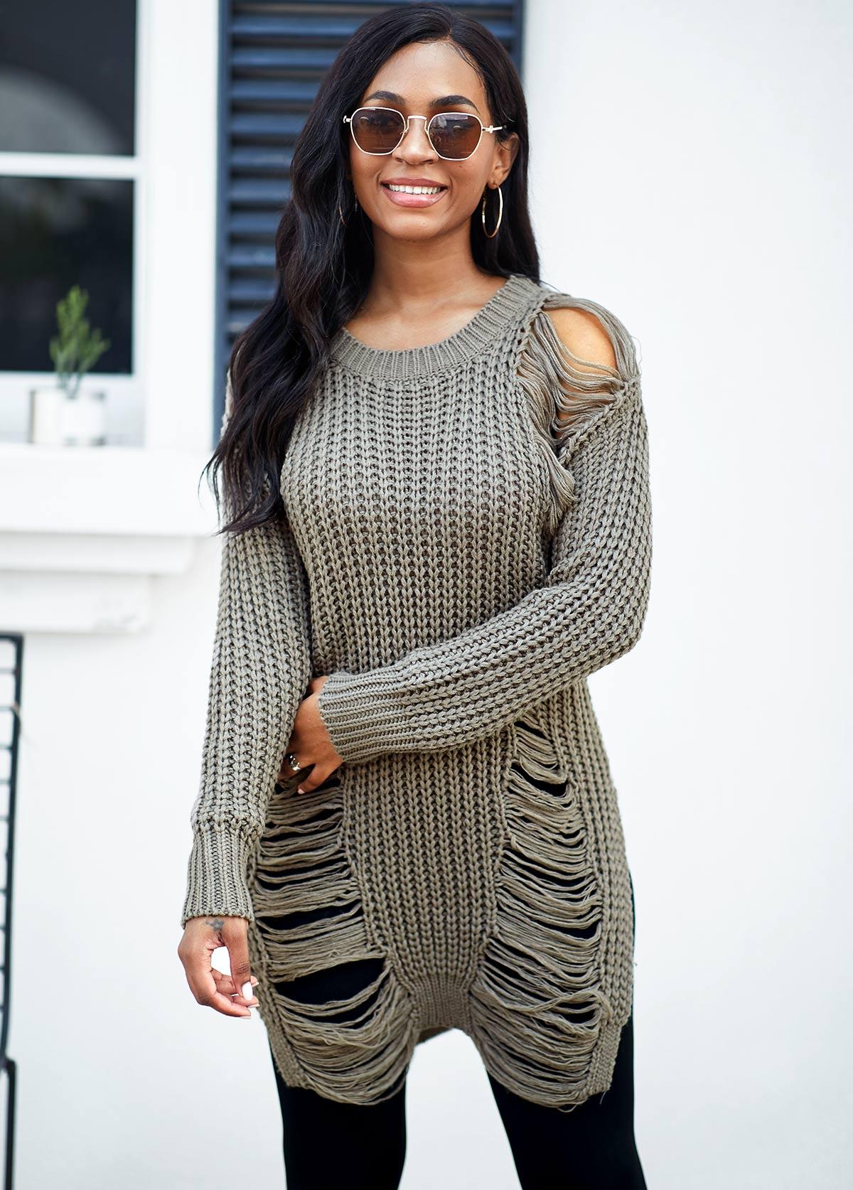 Draped Fringe Long Sleeve Round Neck Sweater