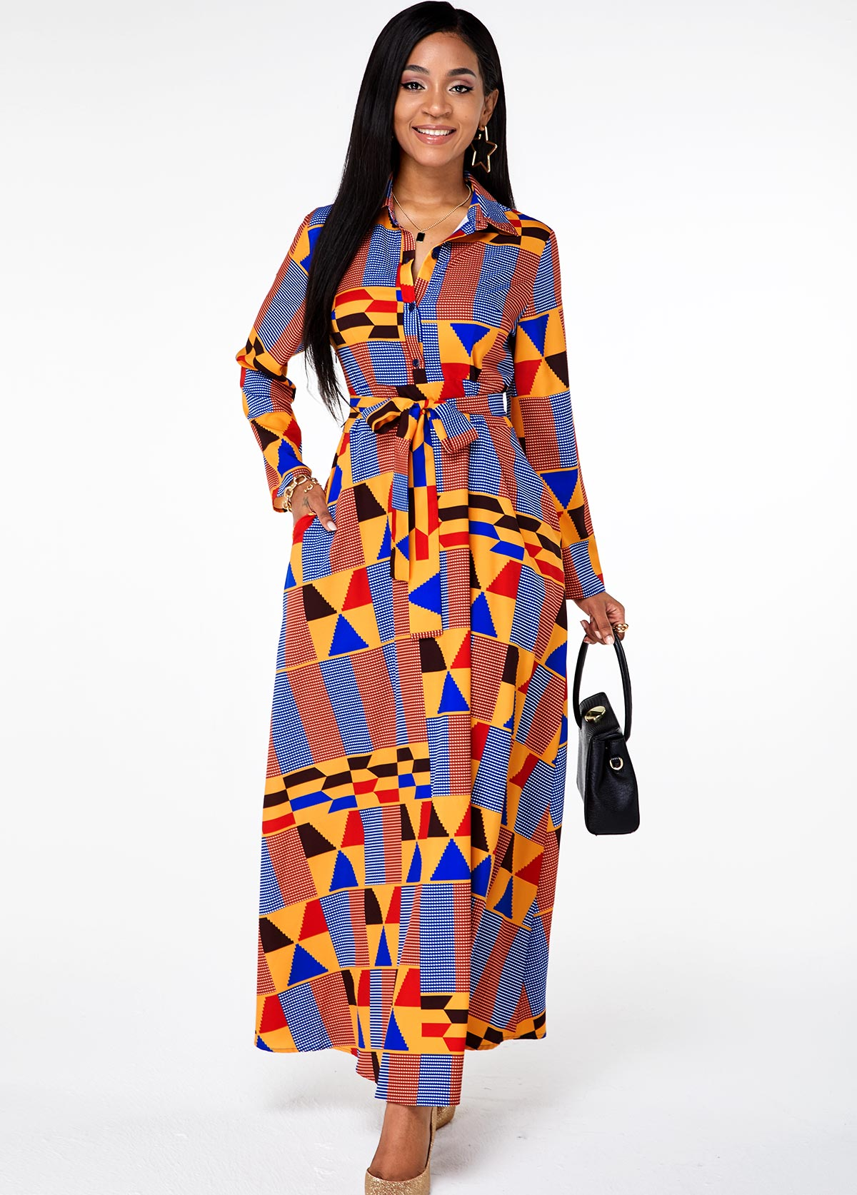 Geometric Print Belted Button Up Pocket Dress