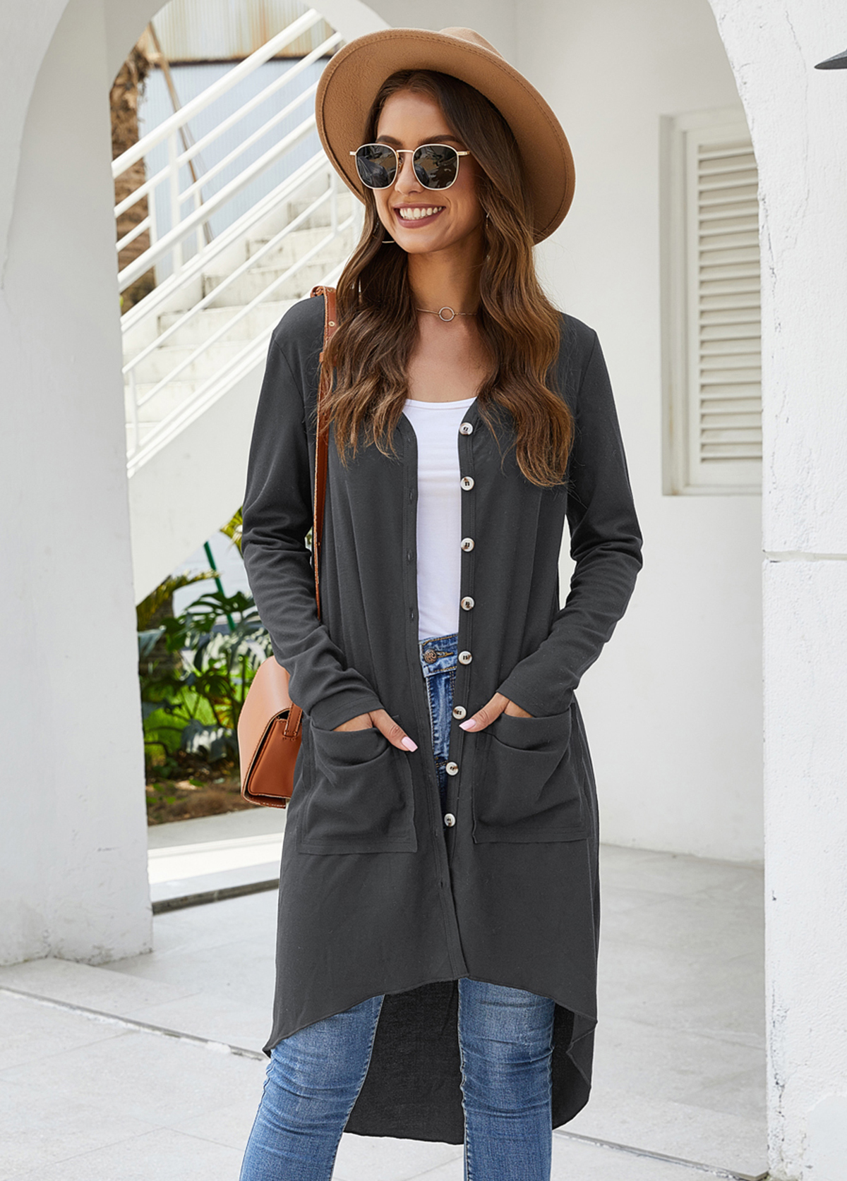 Long Sleeve Open Front Pocket Detail Cardigan