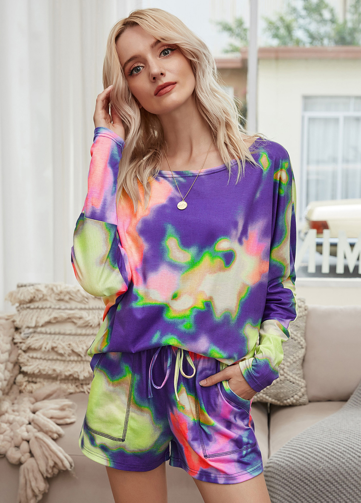 Tie Dye Print Long Sleeve Round Neck Top and Shorts