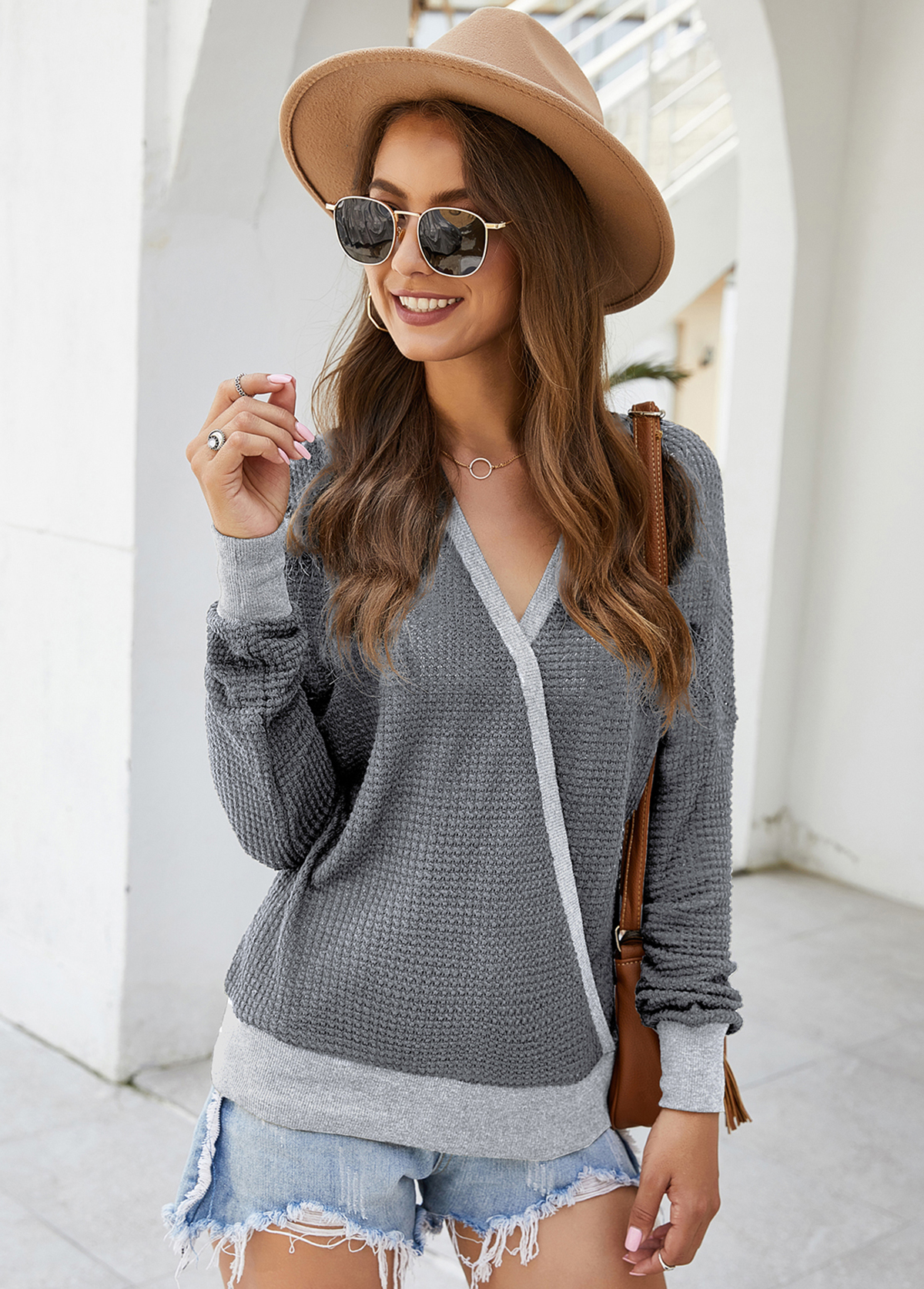 V Neck Contrast Panel Long Sleeve Sweater