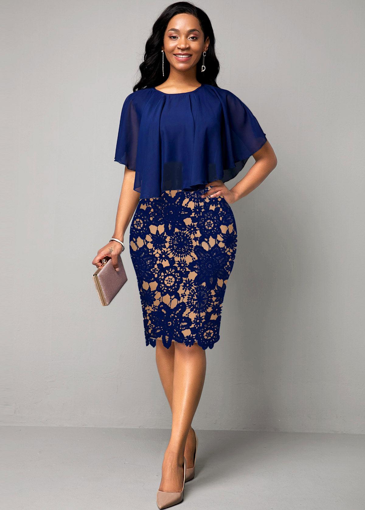 Lace Panel Cape Sleeve Navy Blue Dress