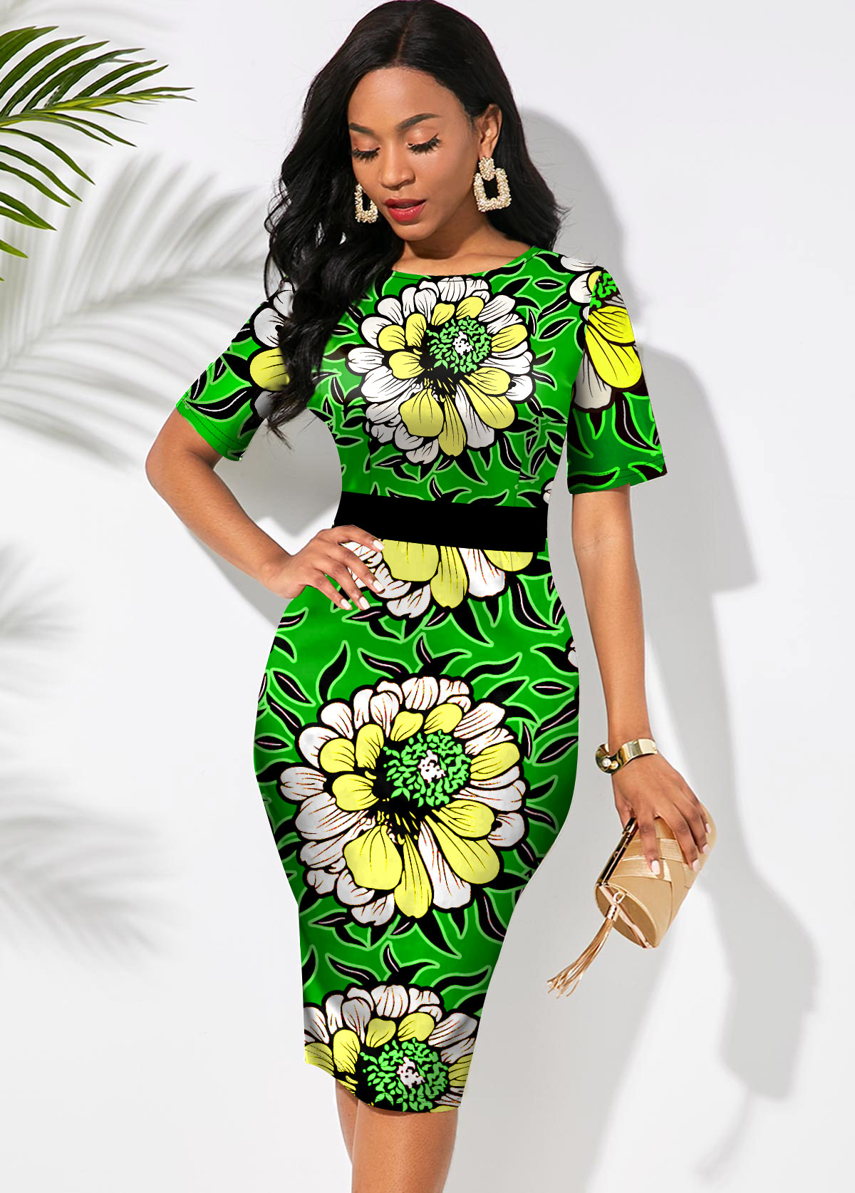 Floral Print Round Neck Short Sleeve Dress