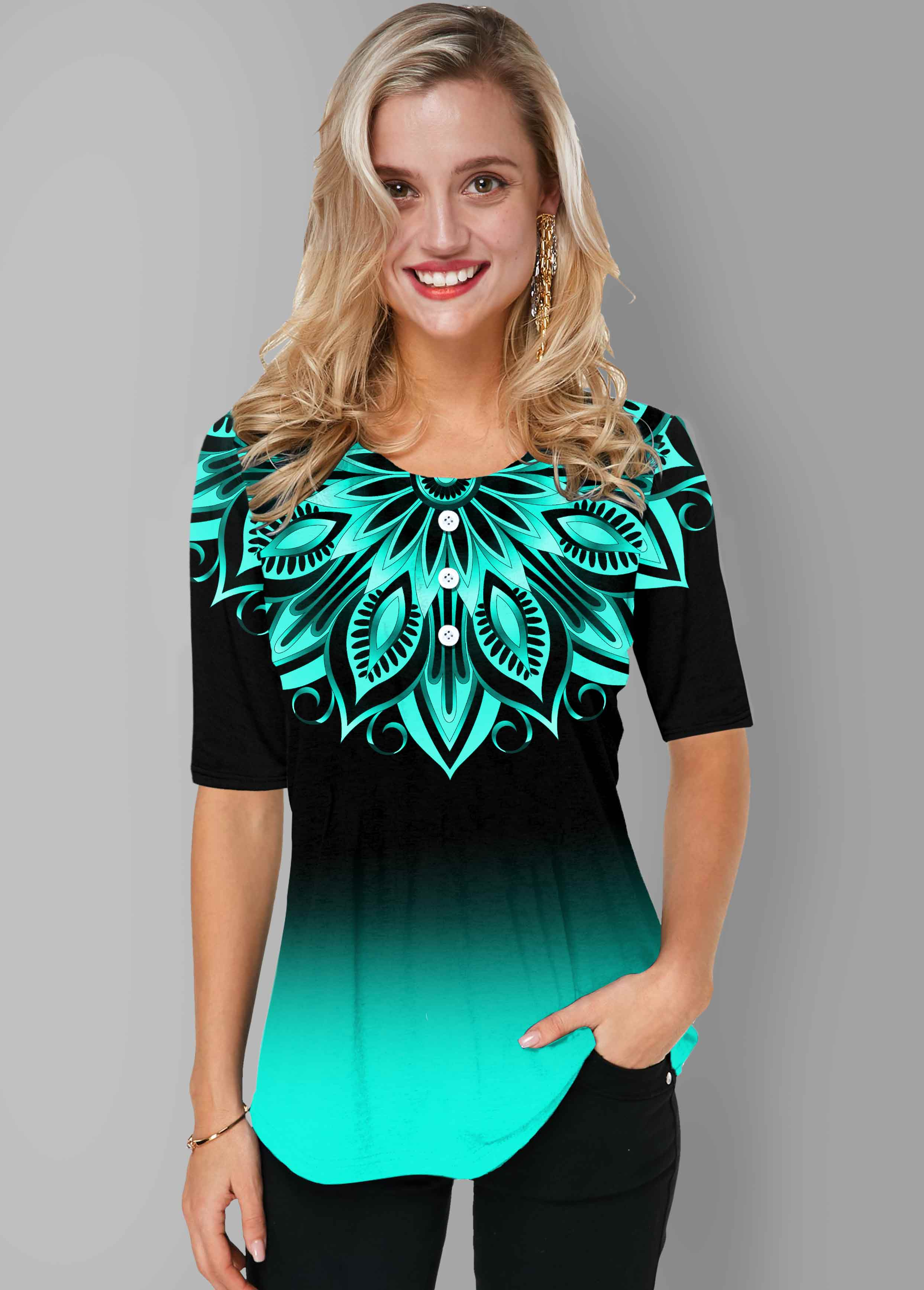 Tribal Print Round Neck Ombre T Shirt
