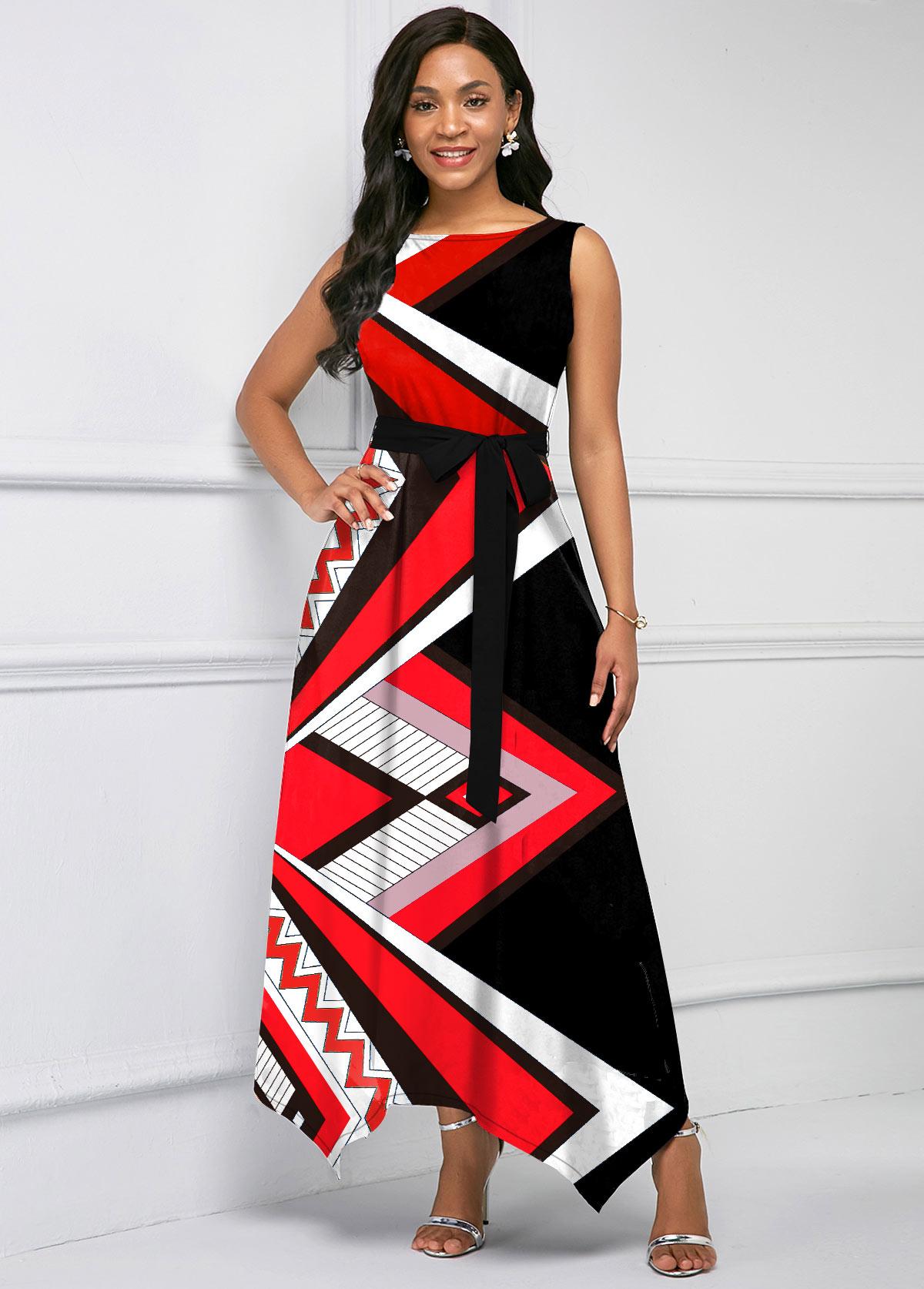 Geometric Print Asymmetric Hem Belted Maxi Dress