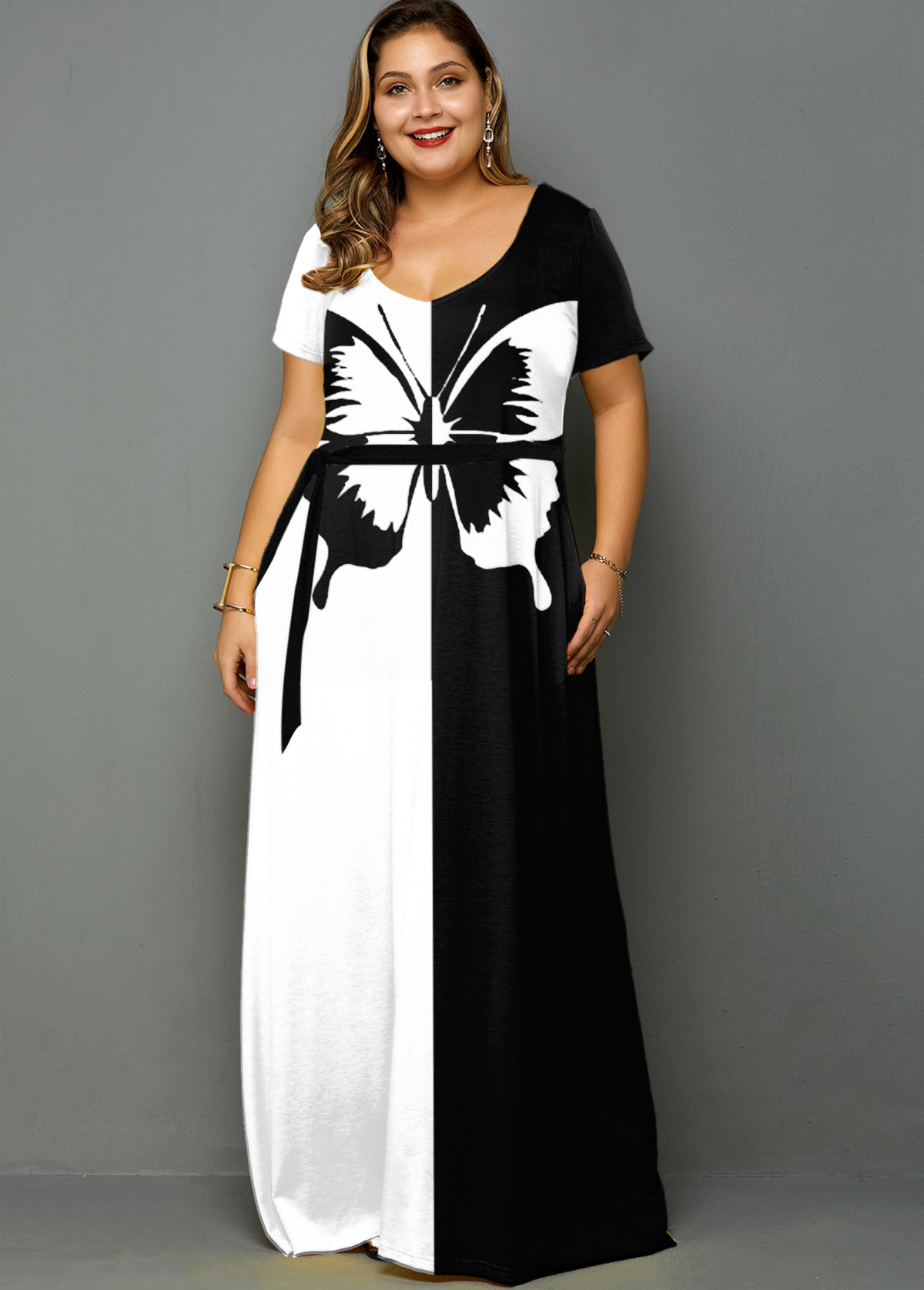 Plus Size Butterfly Print Color Block Belted Dress