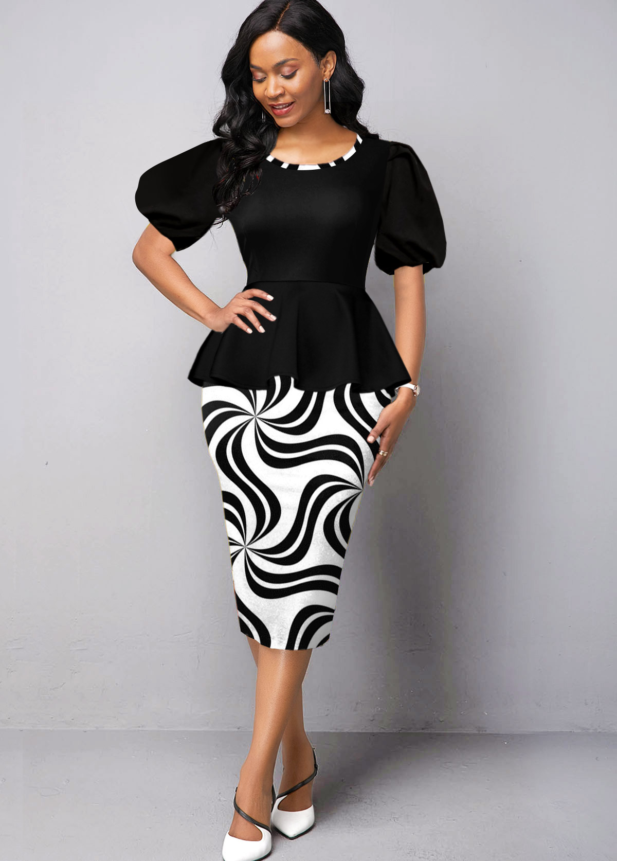 Geometric Print Puff Sleeve Round Neck Dress