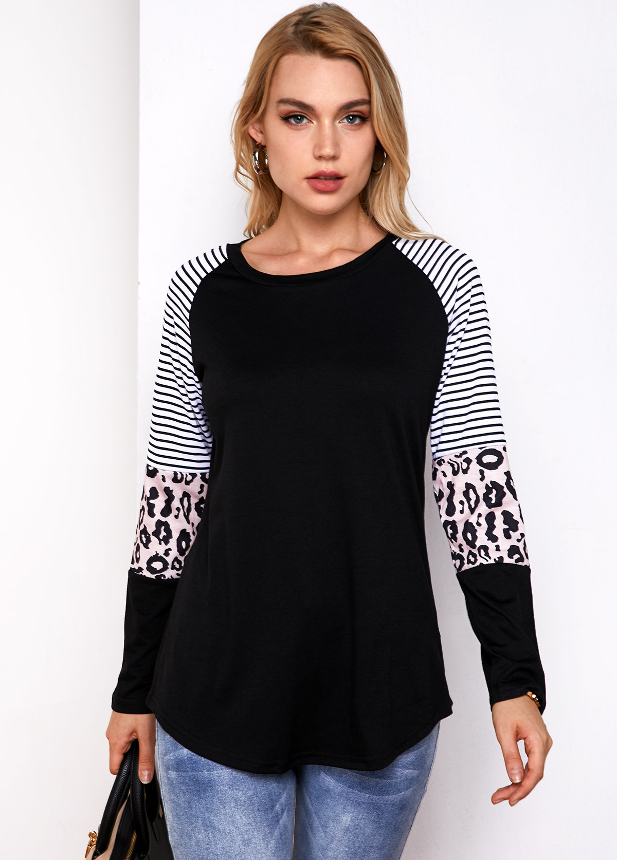 Stripe and Leopard Round Neck Long Sleeve T Shirt
