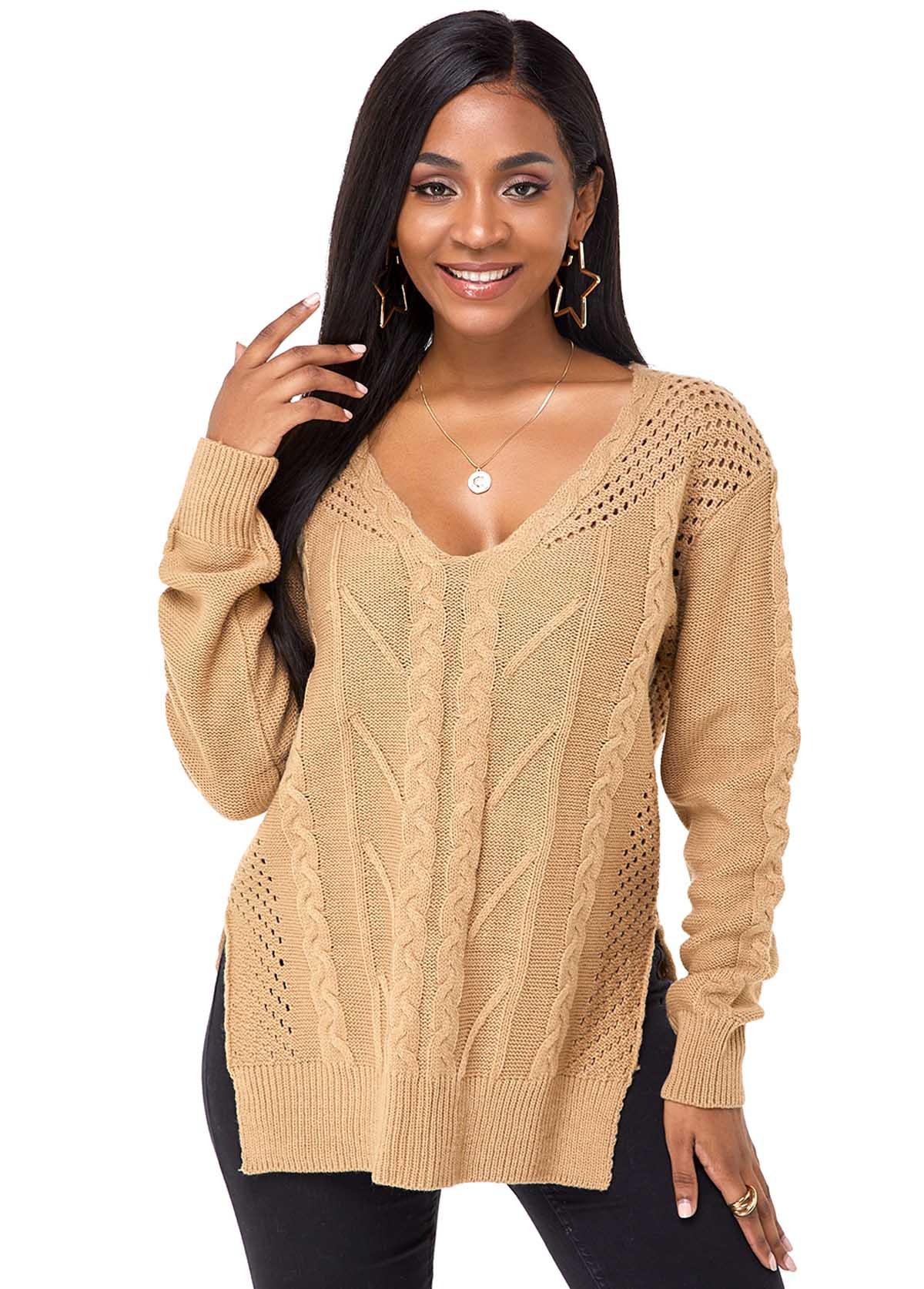 V Neck Side Slit Long Sleeve Sweater