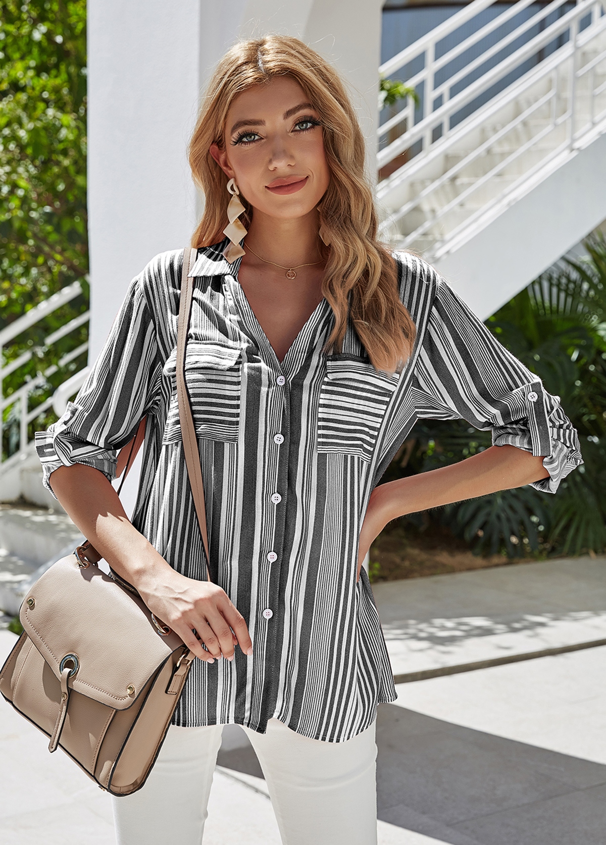Button Up Stripe Print Turndown Collar Blouse