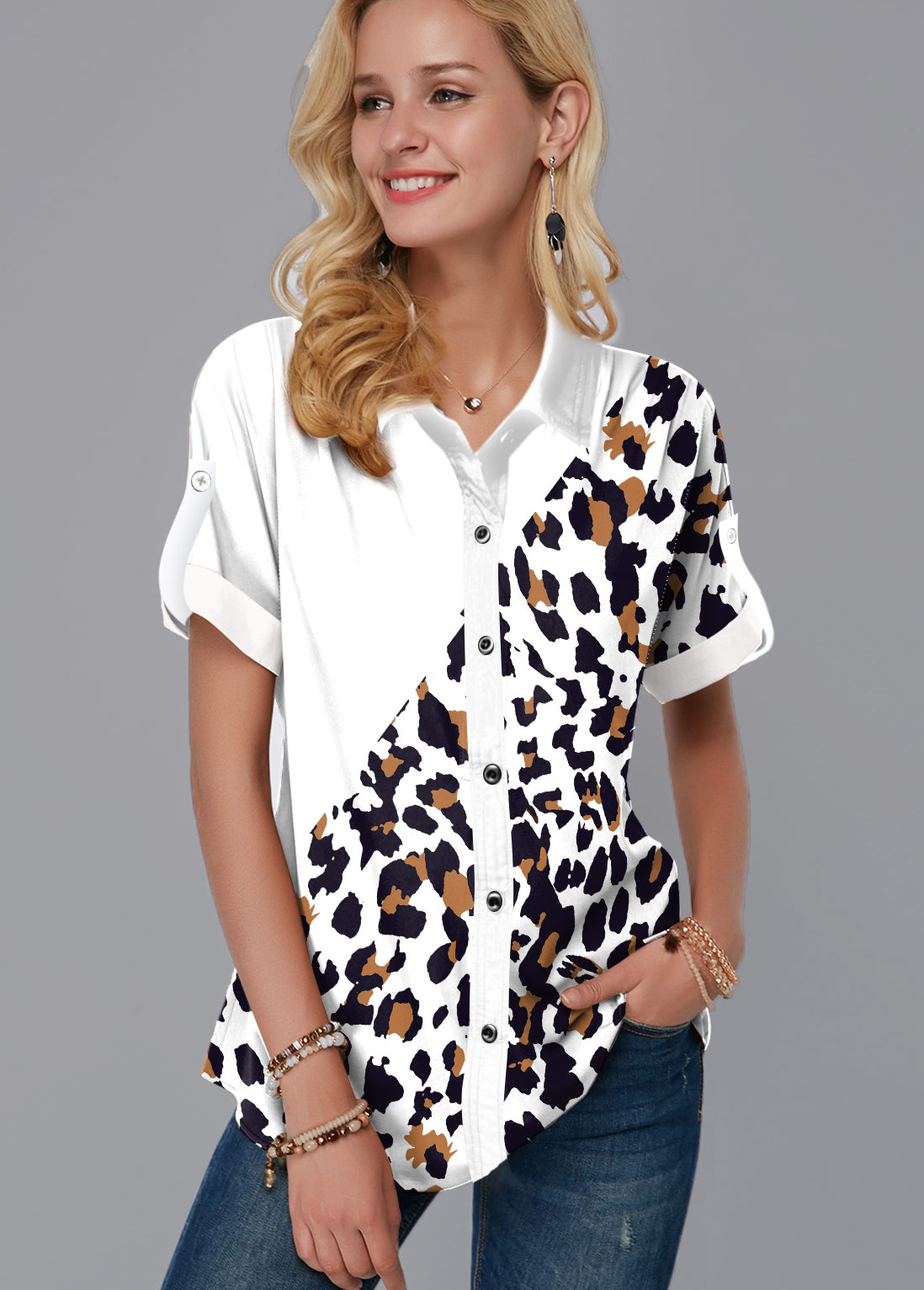 Leopard Print Button Up Turndown Collar Blouse
