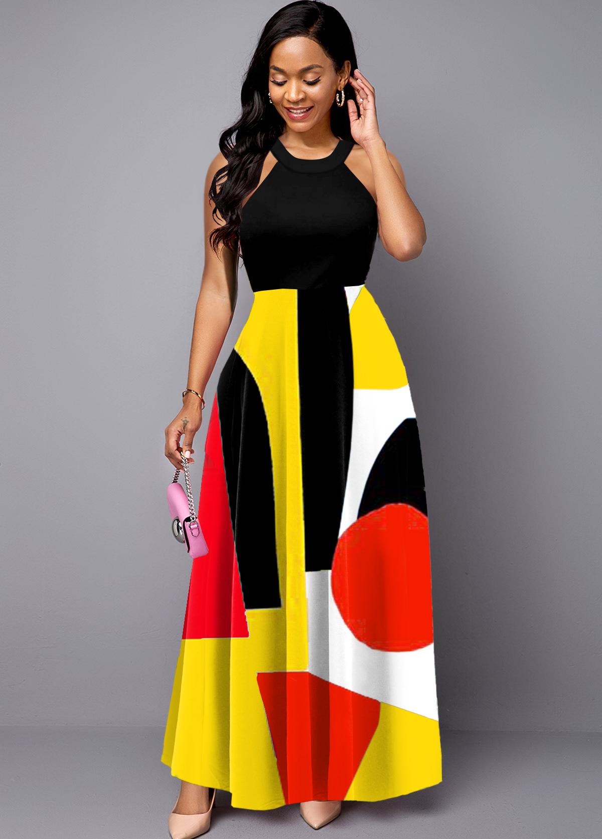 Geometric Print Bib Neck Sleeveless Maxi Dress